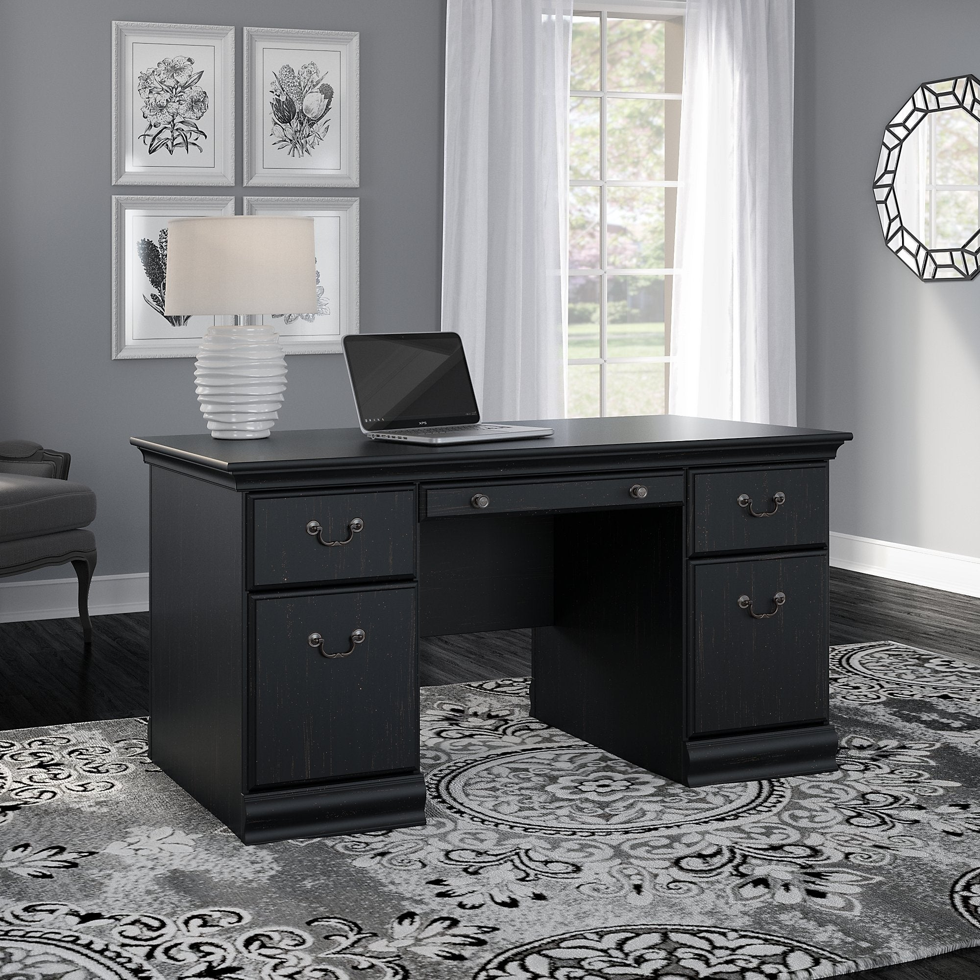 Bush furniture birmingham 60w executive desk in antique black