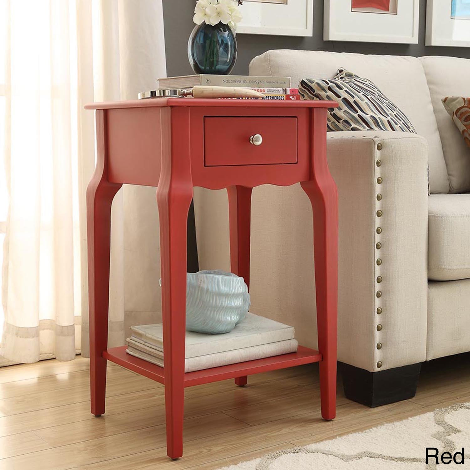 Daniella 1drawer Wood Storage Accent End Table by iNSPIRE Q Bold