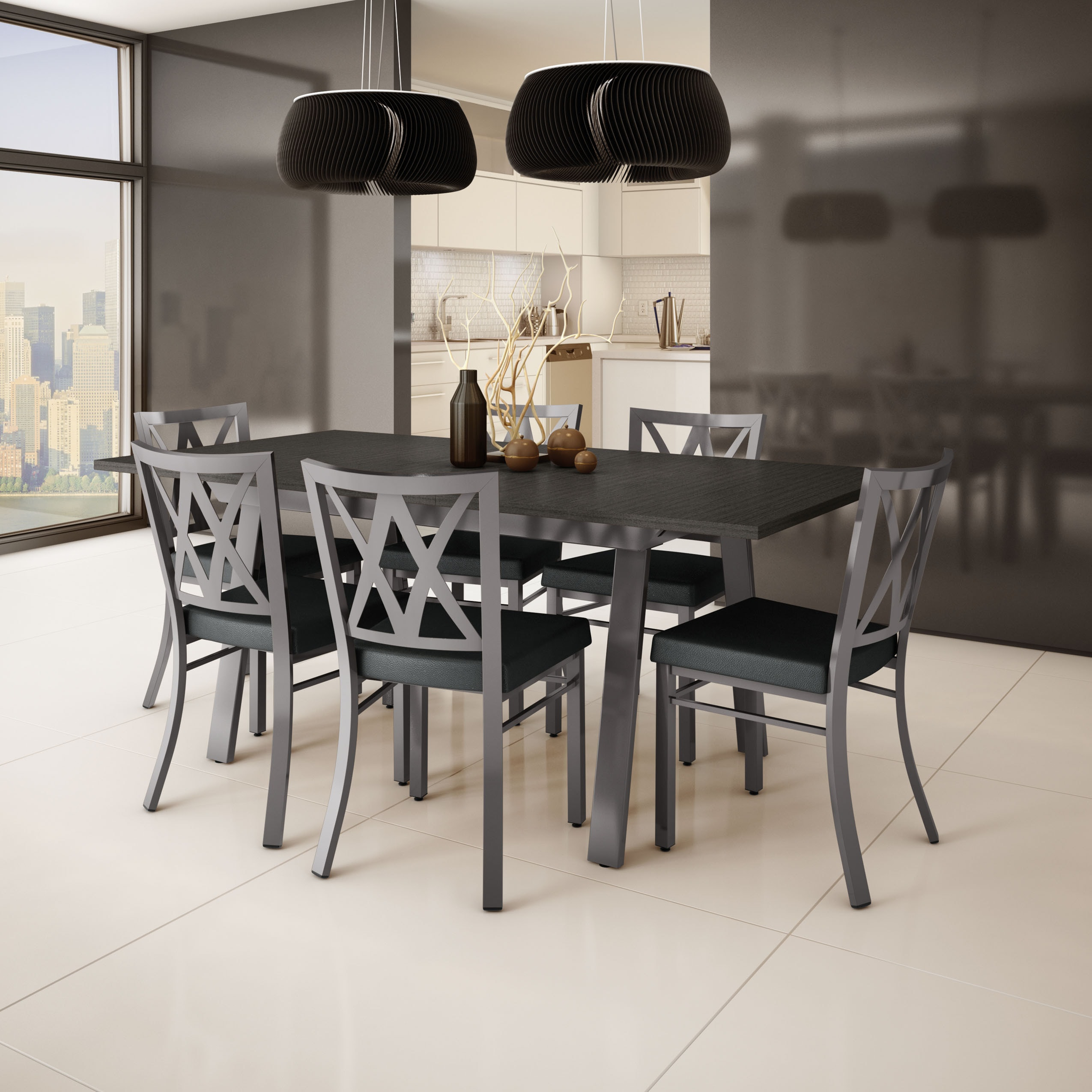 Amisco Washington Metal Chair And Drift Extendable Table Dining Set 4 6 Or 8 Chairs Free Shipping Today 9953410