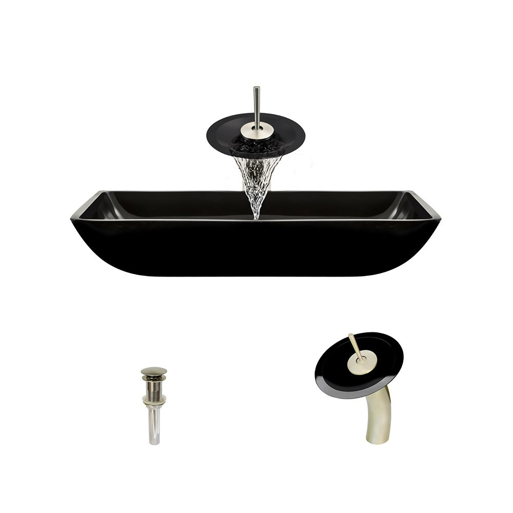 Shop 640 Black Colored Glass Vessel Bathroom Sink, with Brushed ...