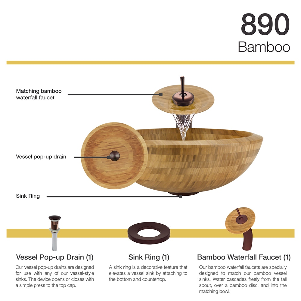 890 Bamboo Vessel Bathroom Sink, with Oil Rubbed Bronze Waterfall ...