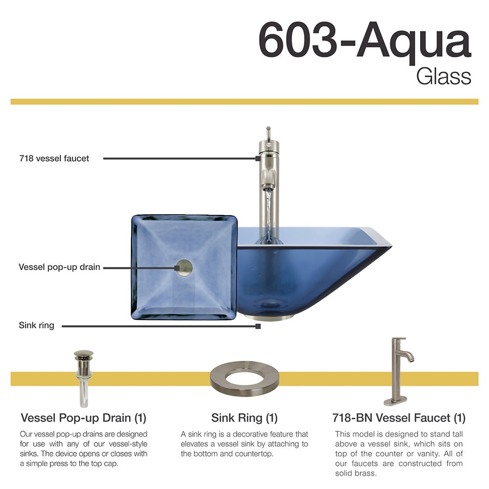 603 Aqua Colored Glass Vessel Sink, with Brushed Nickel Vessel ...