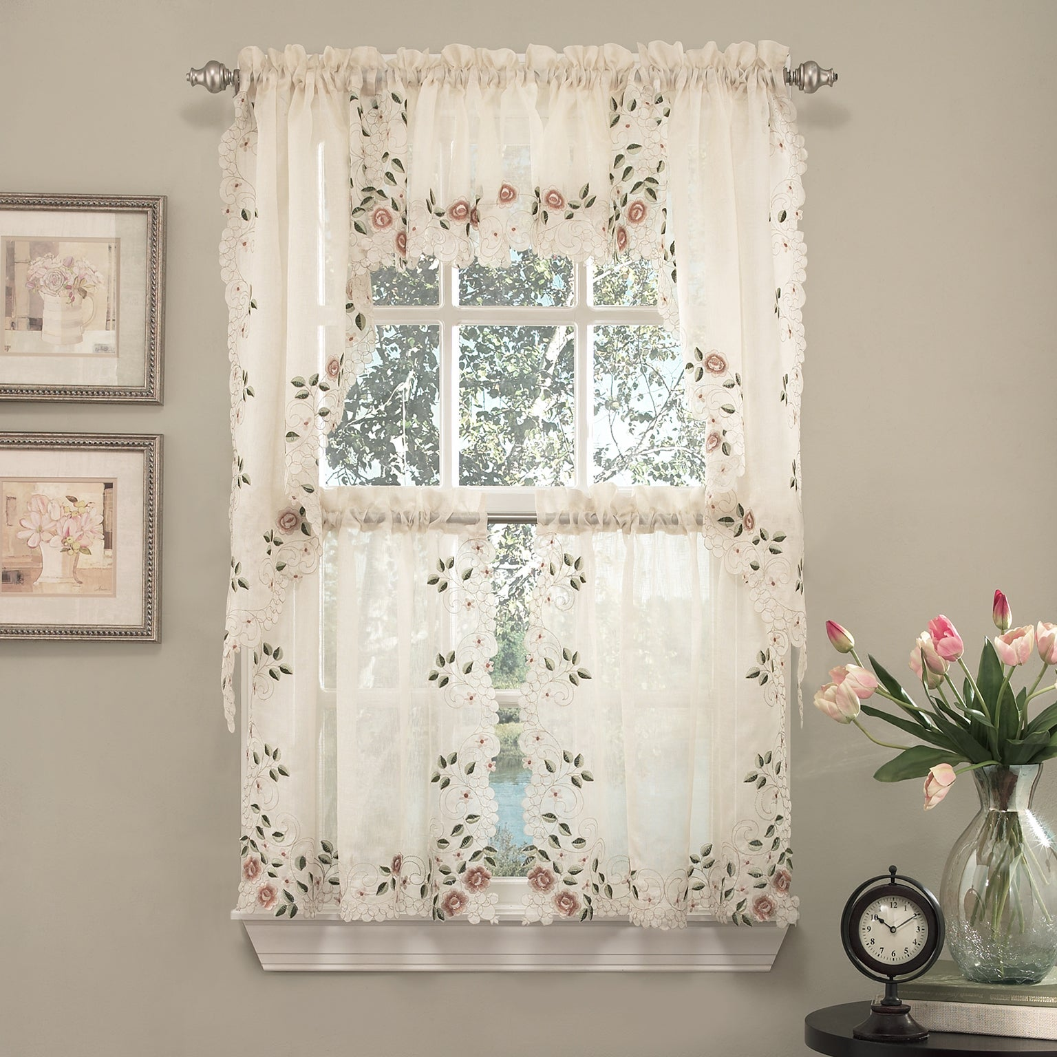 Old world floral embroidered sheer kitchen curtain parts tiers swags and valances