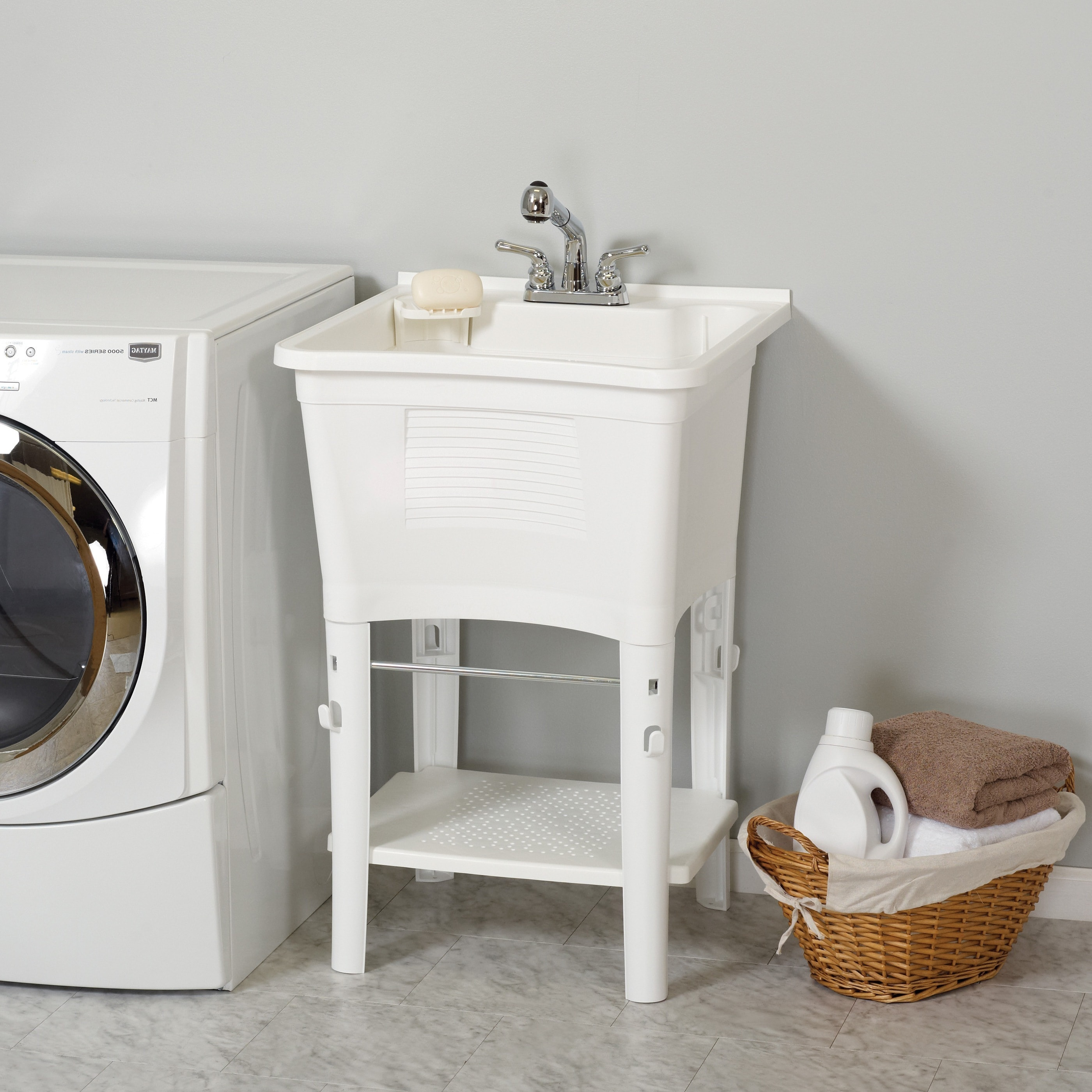 Charmant Shop Zenith Ergo Tub Complete, Freestanding Utility Laundry Sink Kit   Free  Shipping Today   Overstock.com   9956462