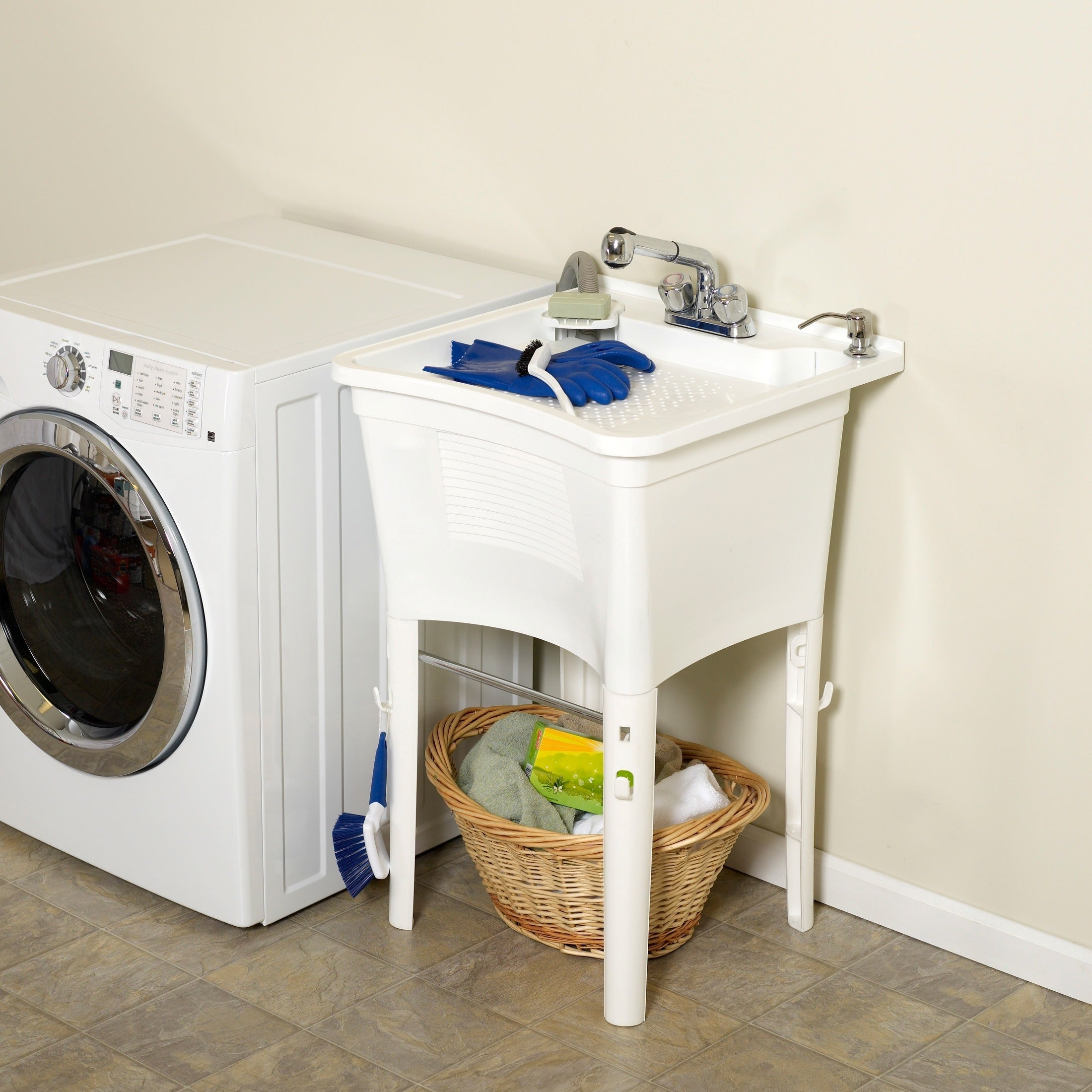 Shop Zenith Ergo Tub Complete, Freestanding Utility Laundry Sink Kit   Free  Shipping Today   Overstock.com   9956462