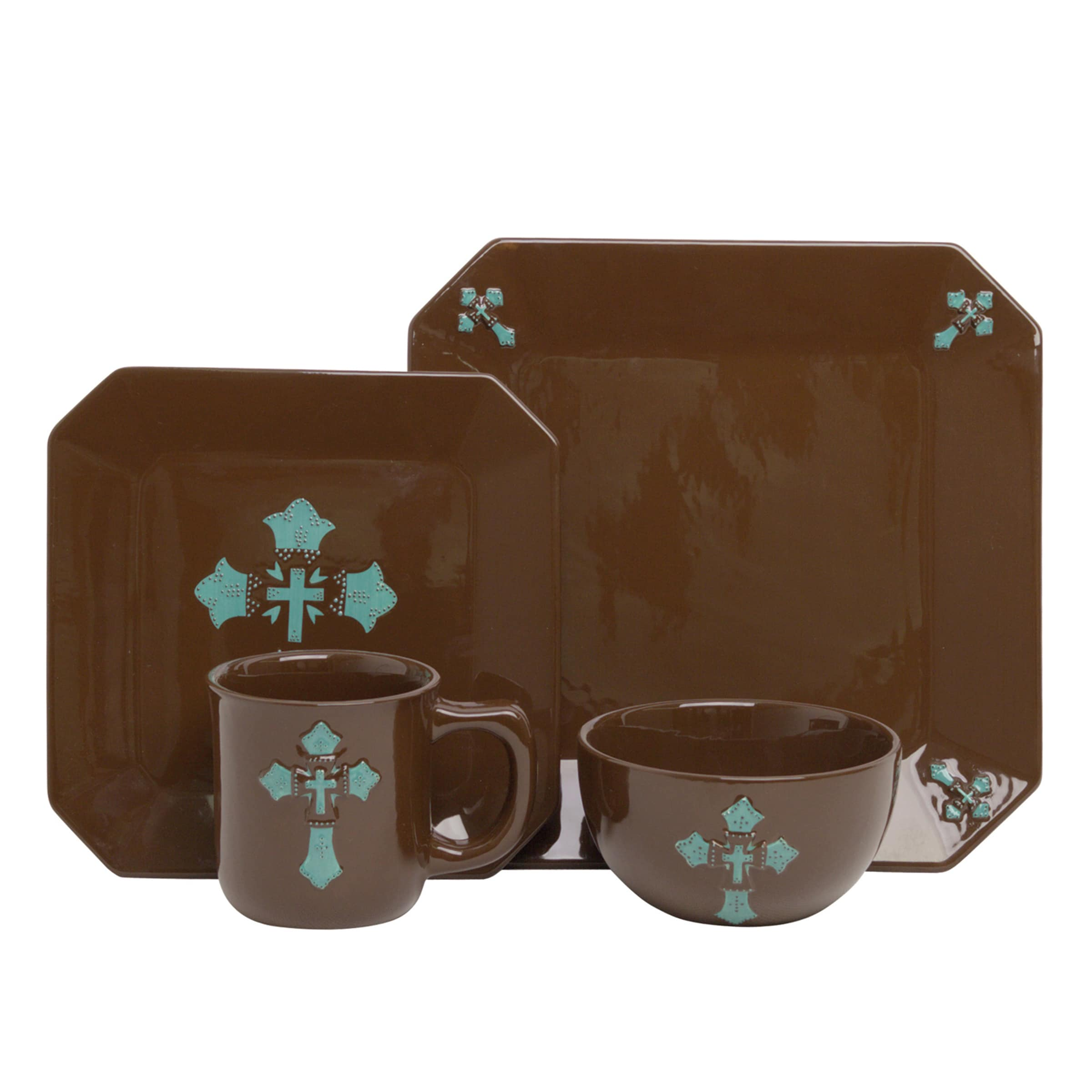 Shop HiEnd Accents Turquoise Cross 16-piece Dinnerware Set - Free ...