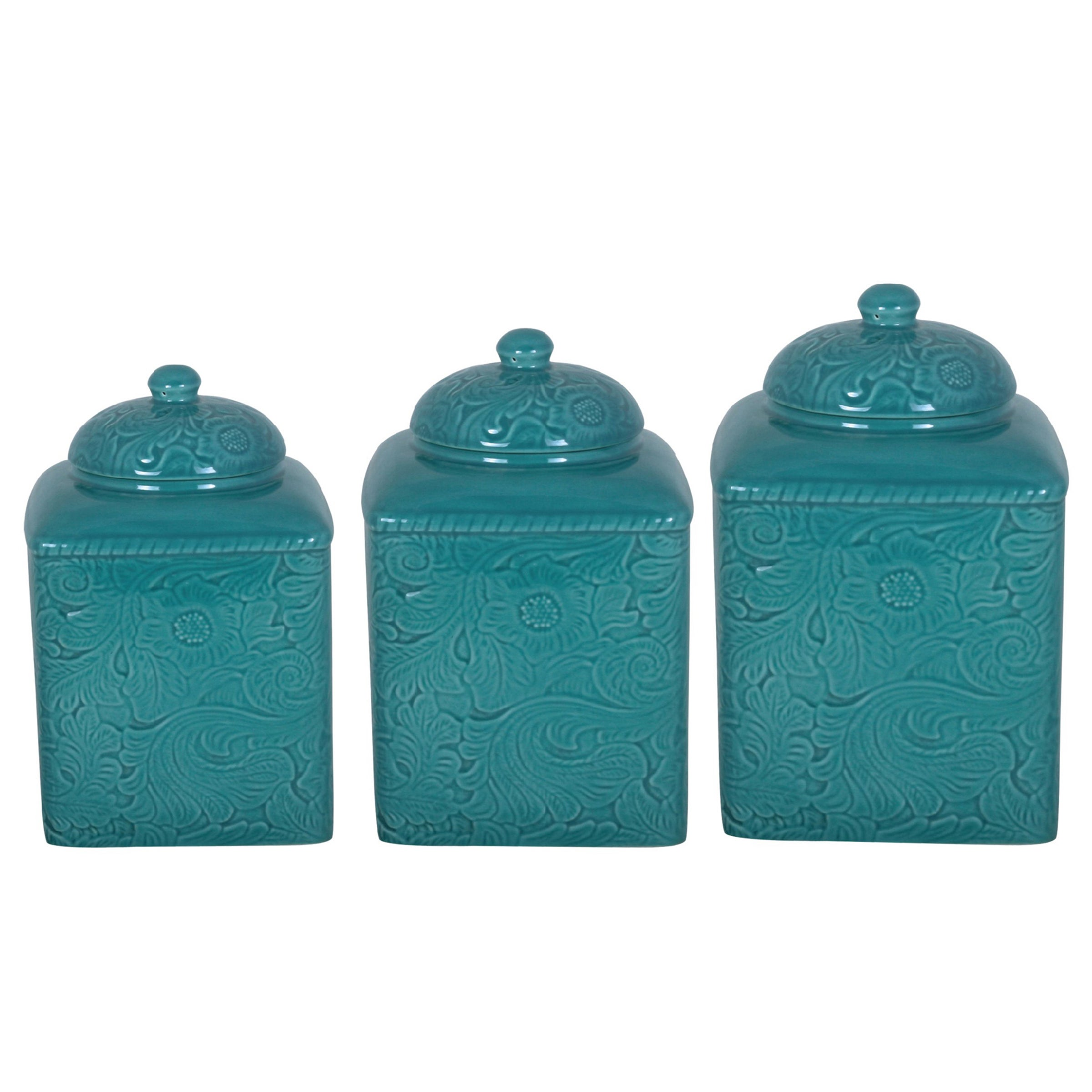 Shop HiEnd Accents Savannah Turquoise Canister 3-piece Set - Free ...