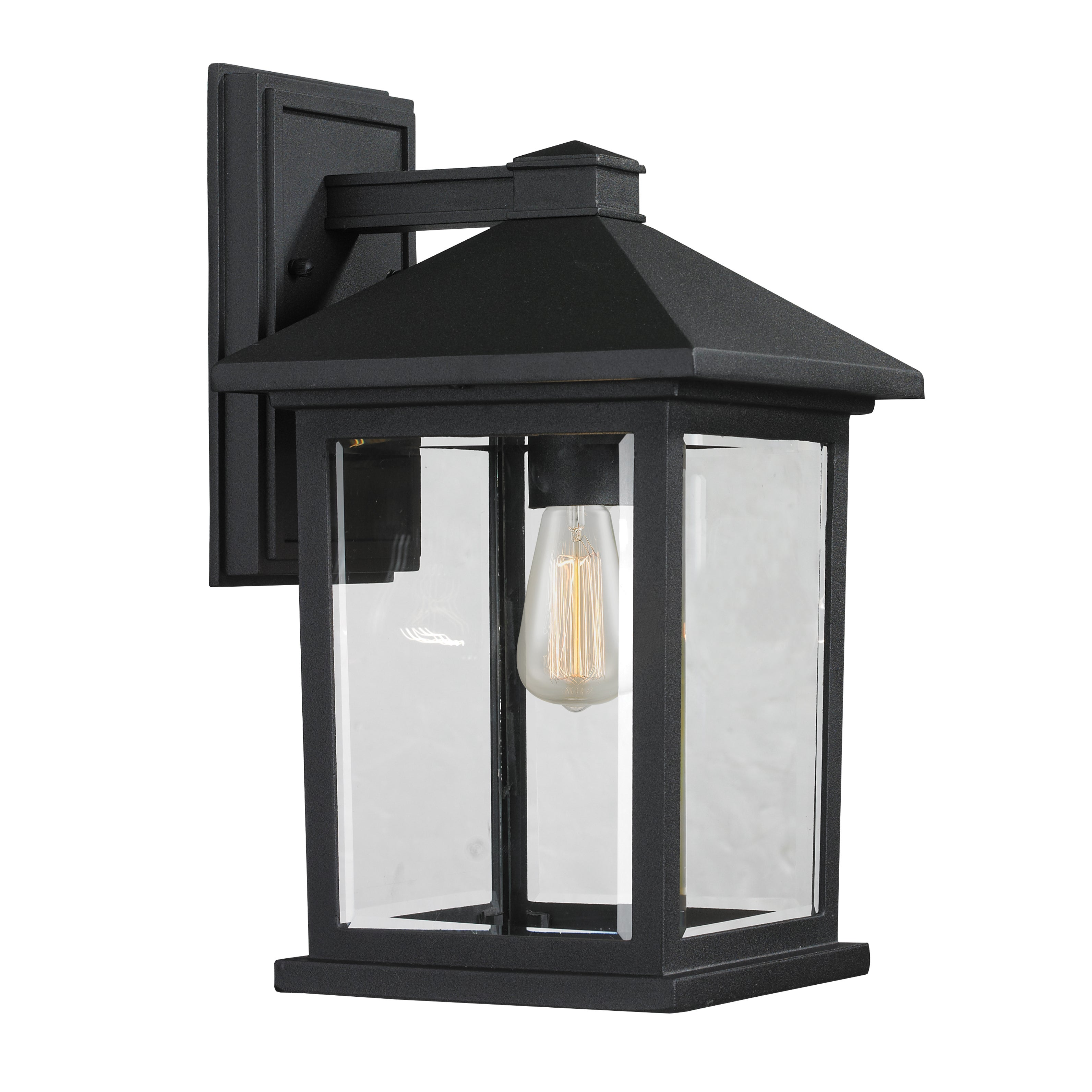 Shop portland 1 light matte black outdoor wall light on sale free shipping today overstock 9957891