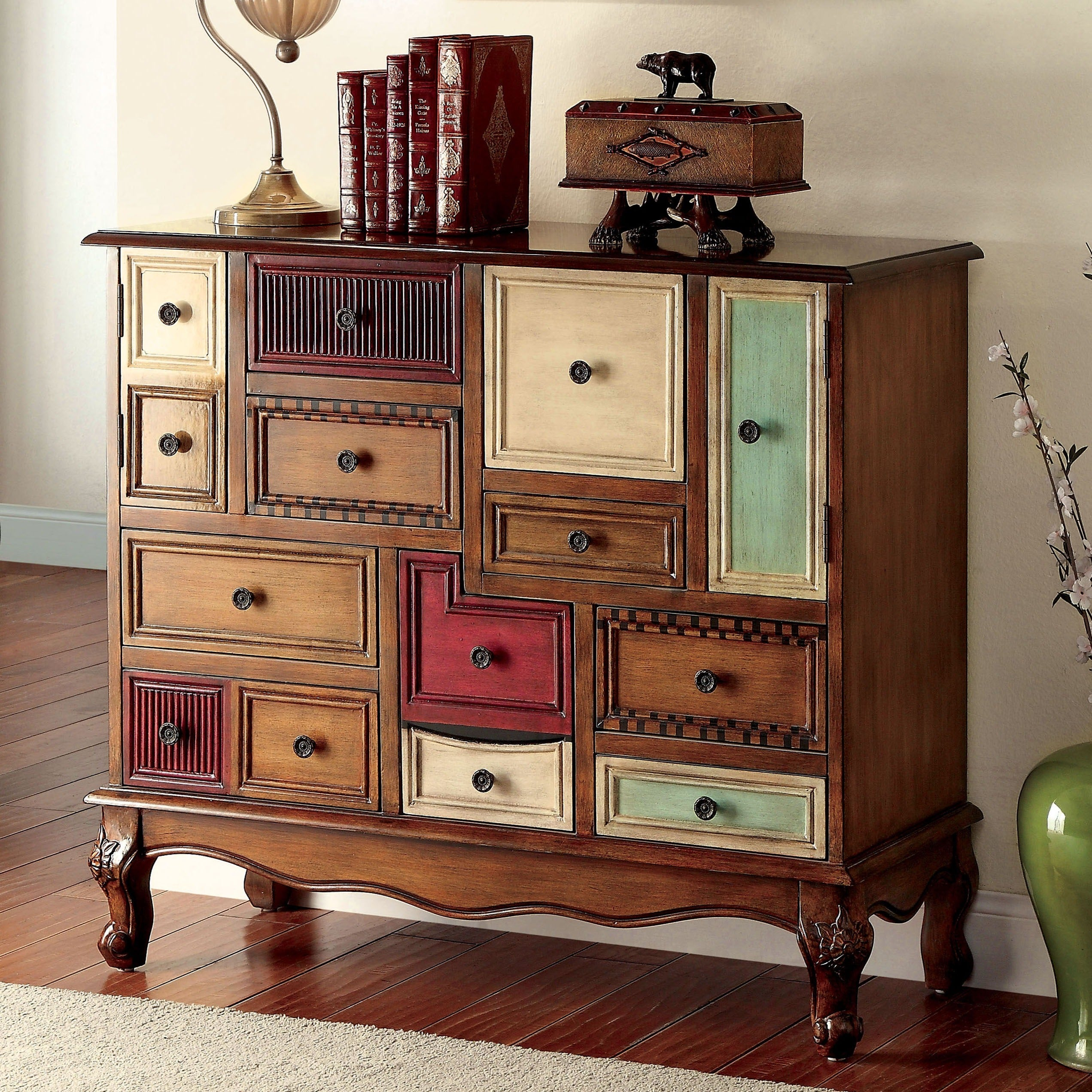 Furniture of america cirque antique walnut wood accent chest