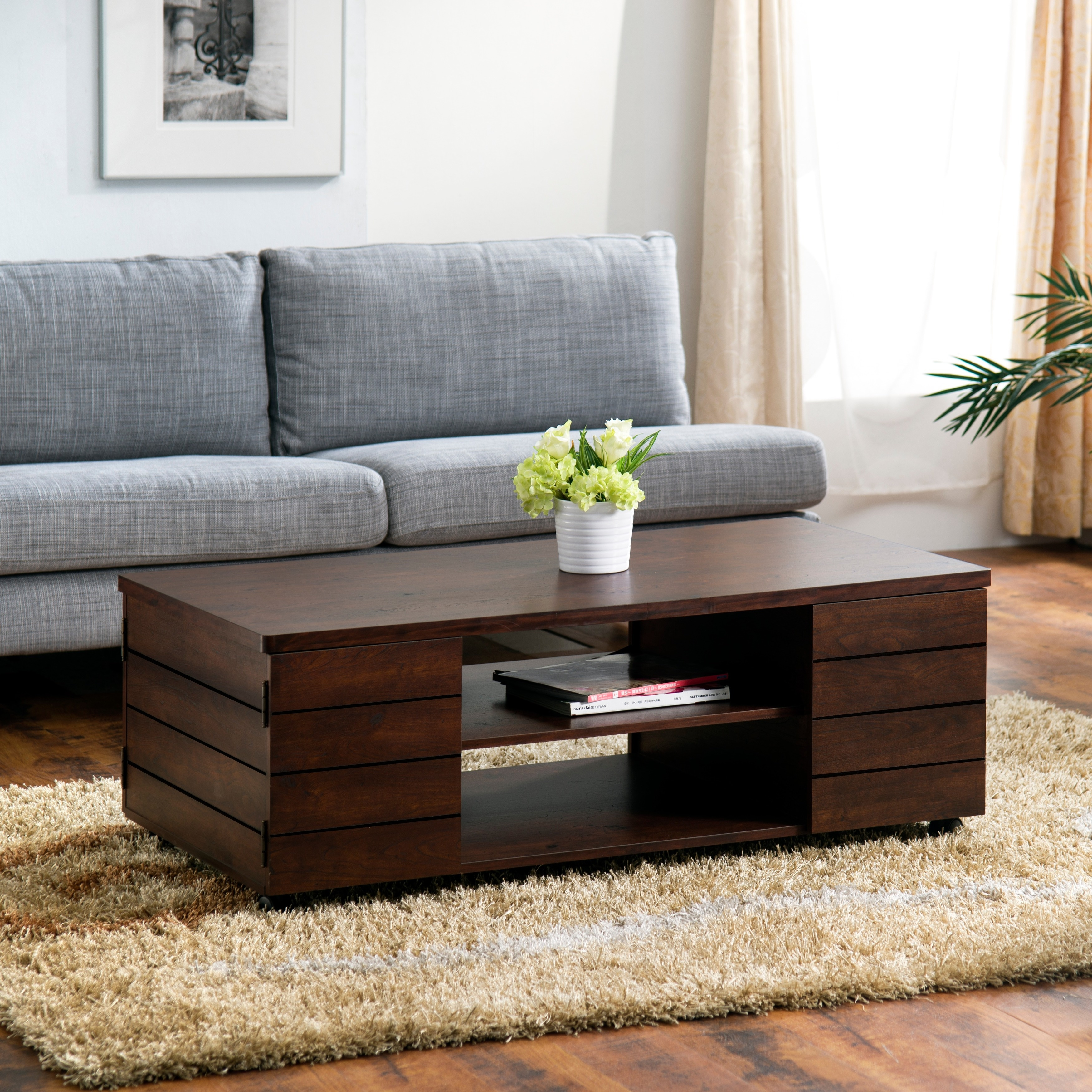 Furniture Of America Pollins Vintage Walnut Coffee Table On Free Shipping Today 9958407