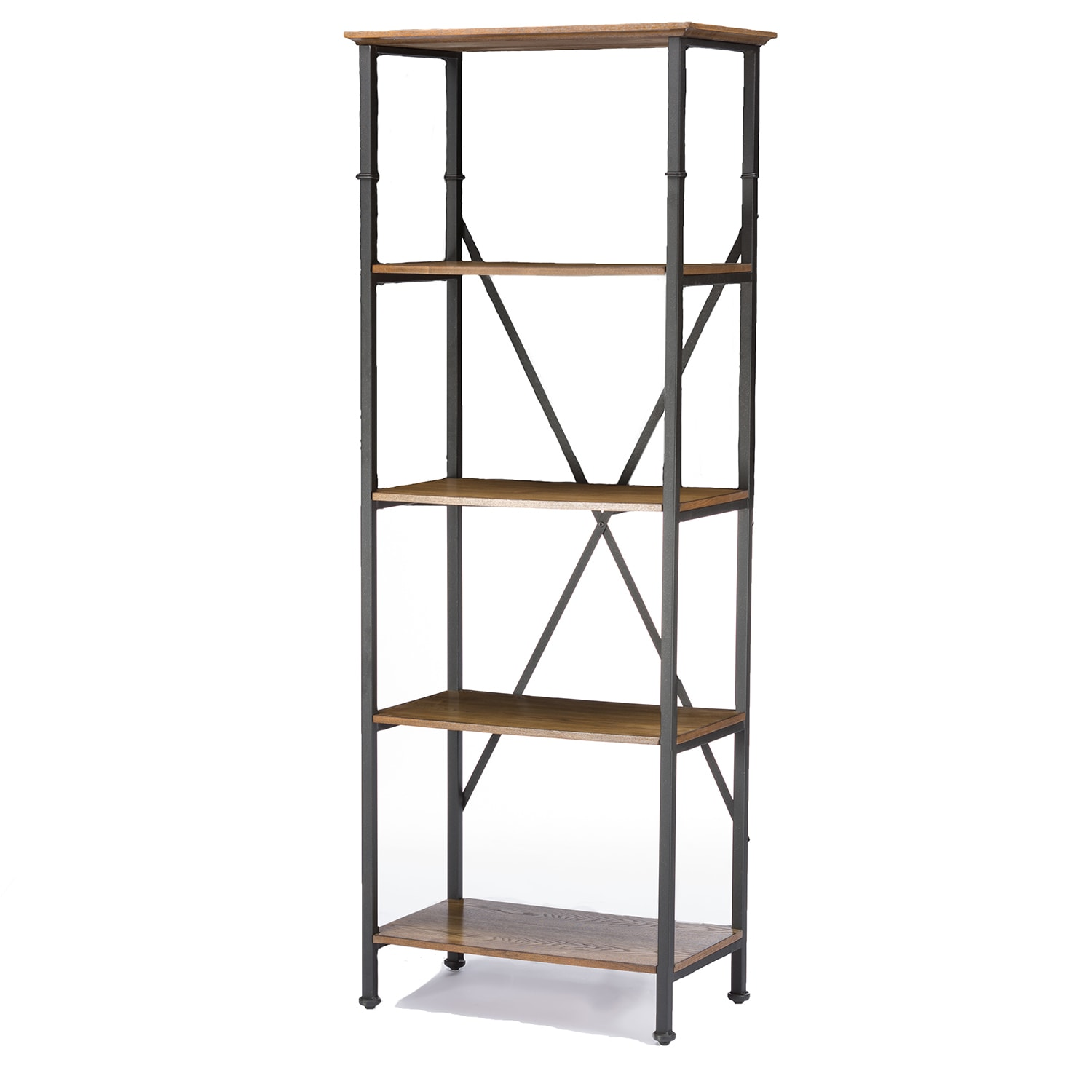 Lancashire Wood Metal Bookcase Free Shipping Today 9958409