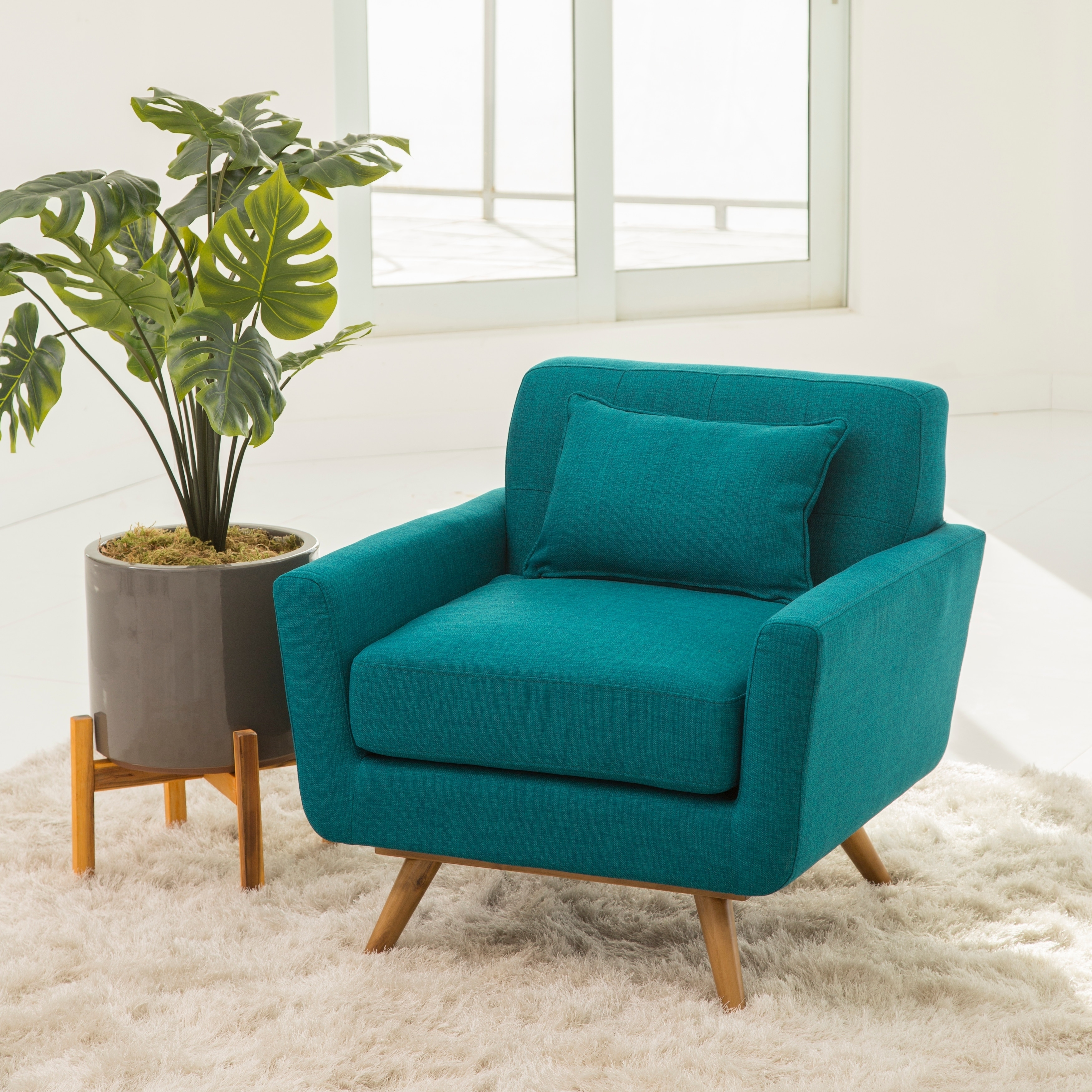 Shop Abbyson Bradley Teal Mid Century Fabric Armchair - On Sale ...