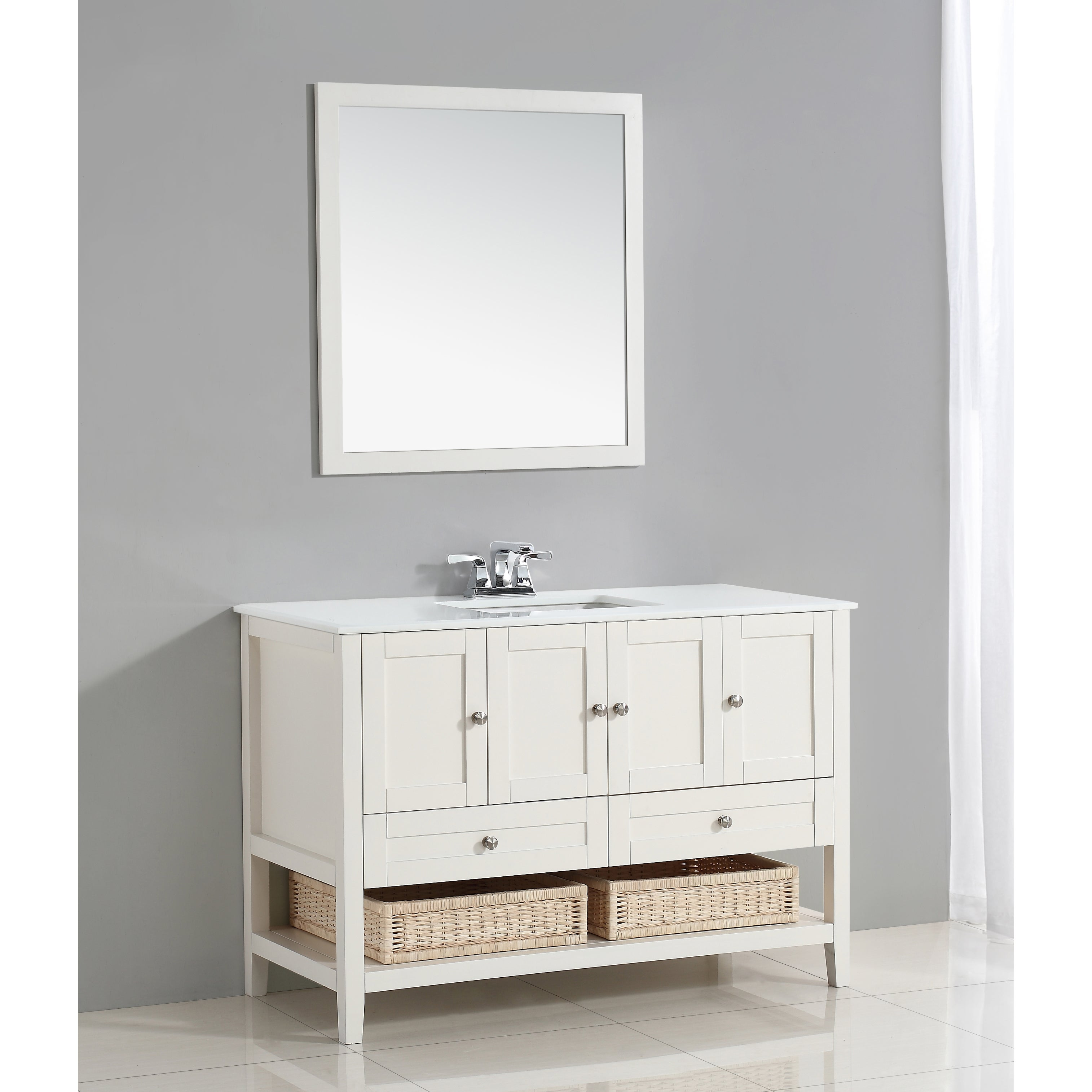WYNDENHALL Belmont 48 inch Bath Vanity in Soft White with White Engineered Quartz Marble Top