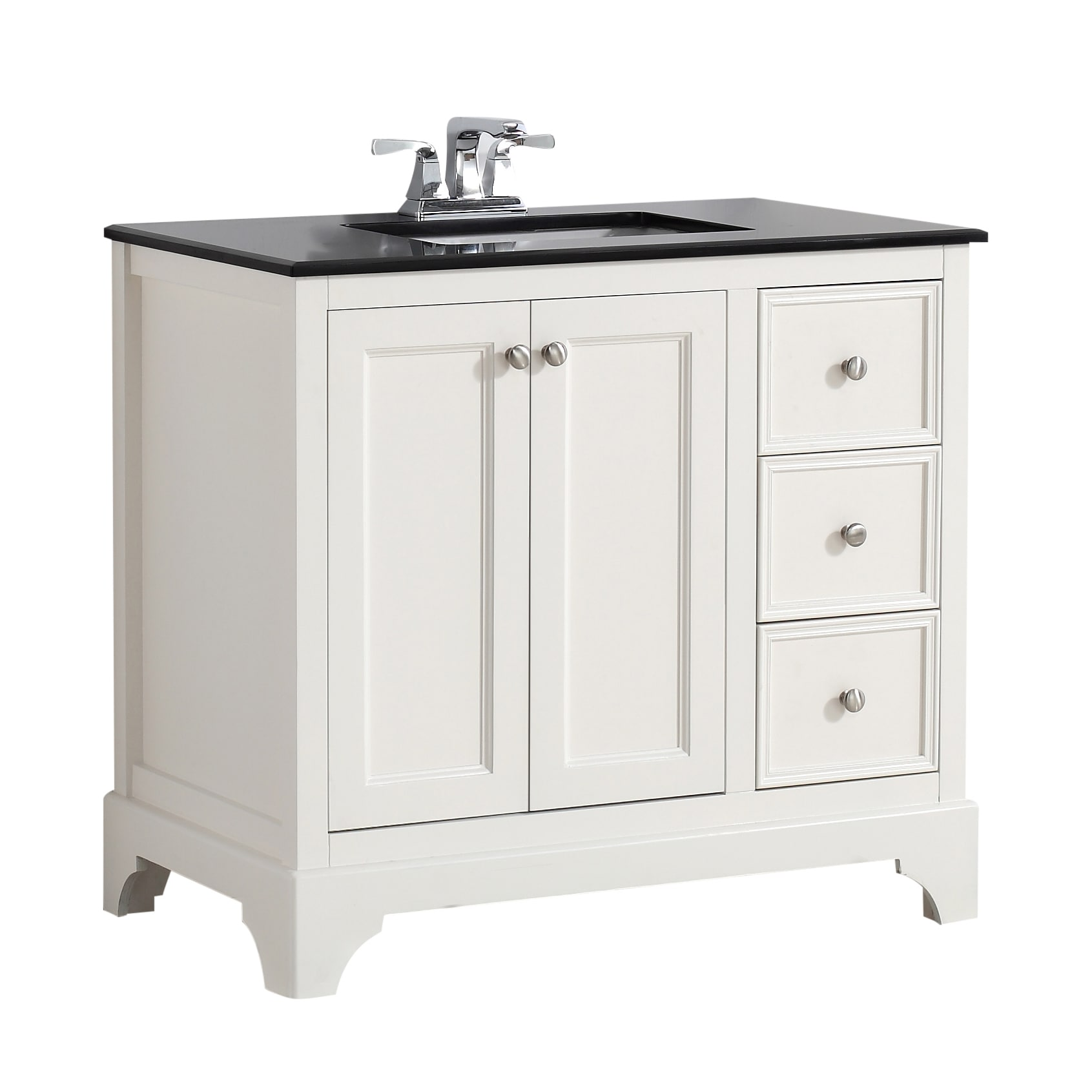 Shop wyndenhall carlyle 36 inch white bath vanity with black granite top free shipping today overstock com 9960021