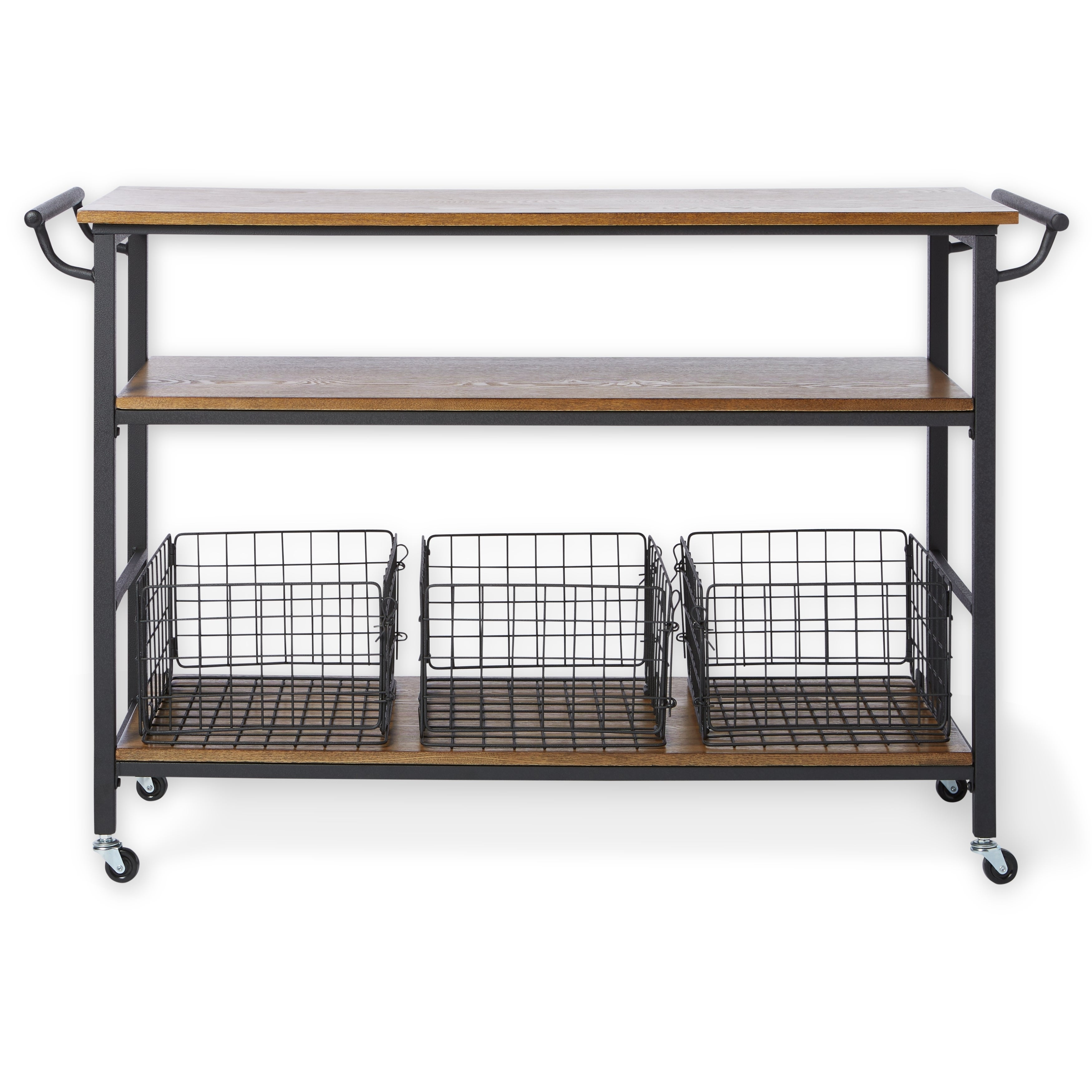 Shop Maison Rouge Mayer Metal Frame Rustic Kitchen Cart With Wood - Metal table with shelves
