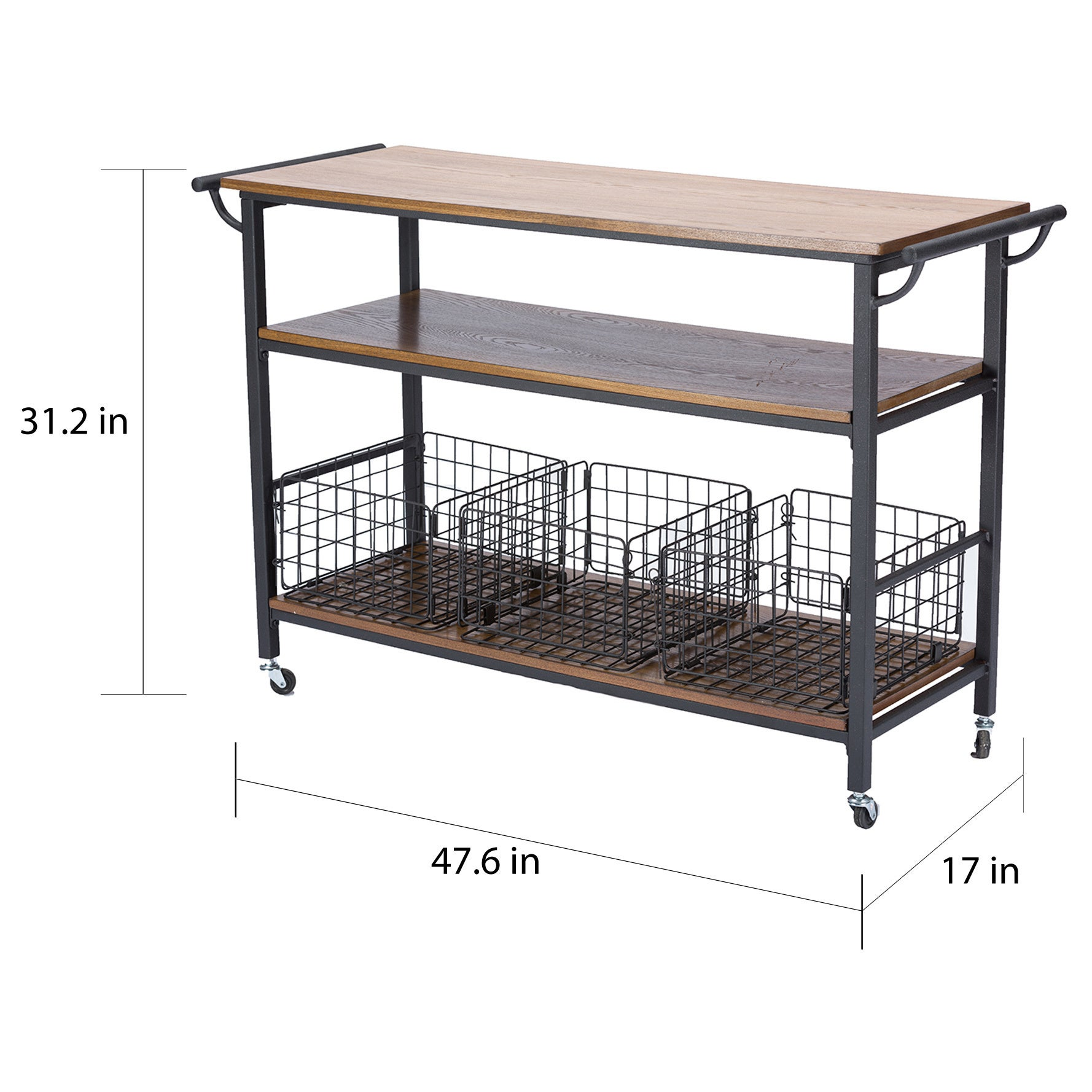 Shop Maison Rouge Mayer Metal Frame Rustic Kitchen Cart with Wood ...