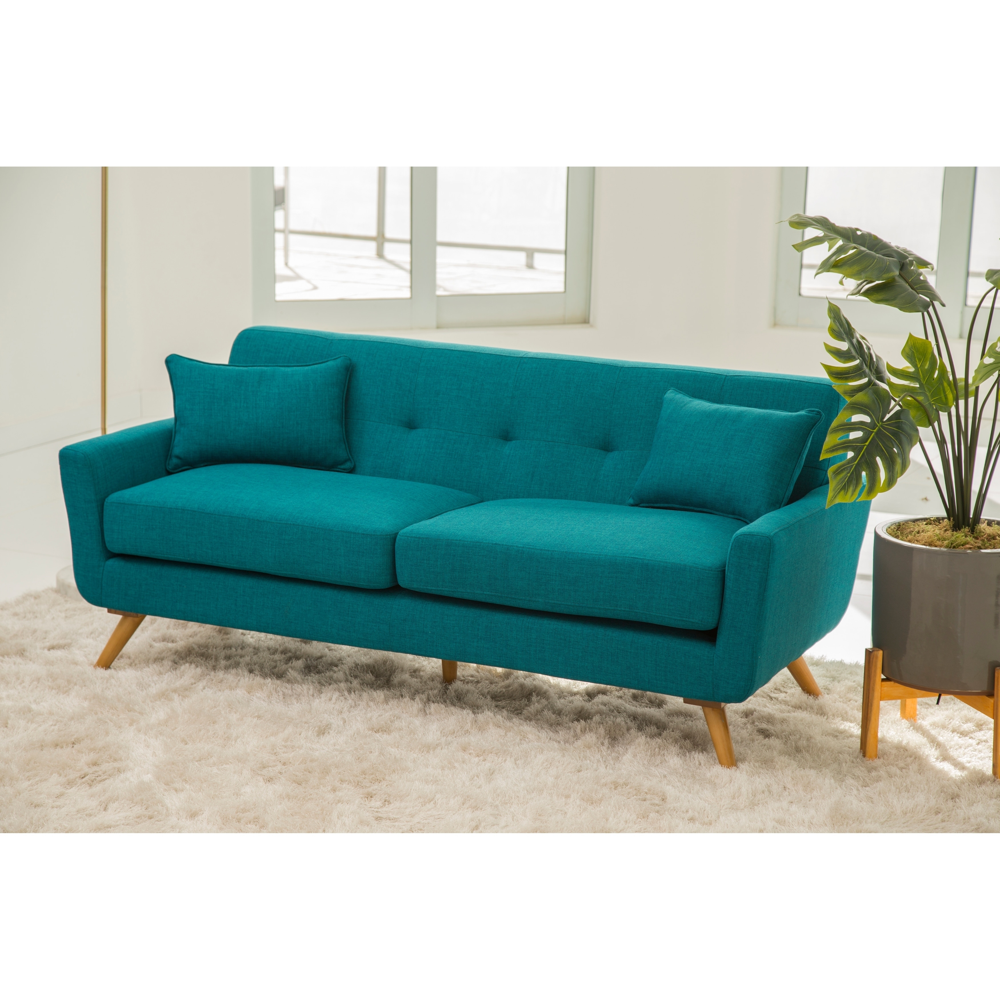 Shop Abbyson Bradley Teal Mid Century Fabric Sofa - On Sale - Free ...