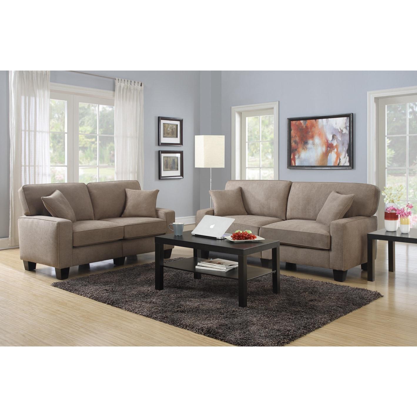 Shop Serta RTA Palisades Collection 73 inch Fawn Tan Sofa Free