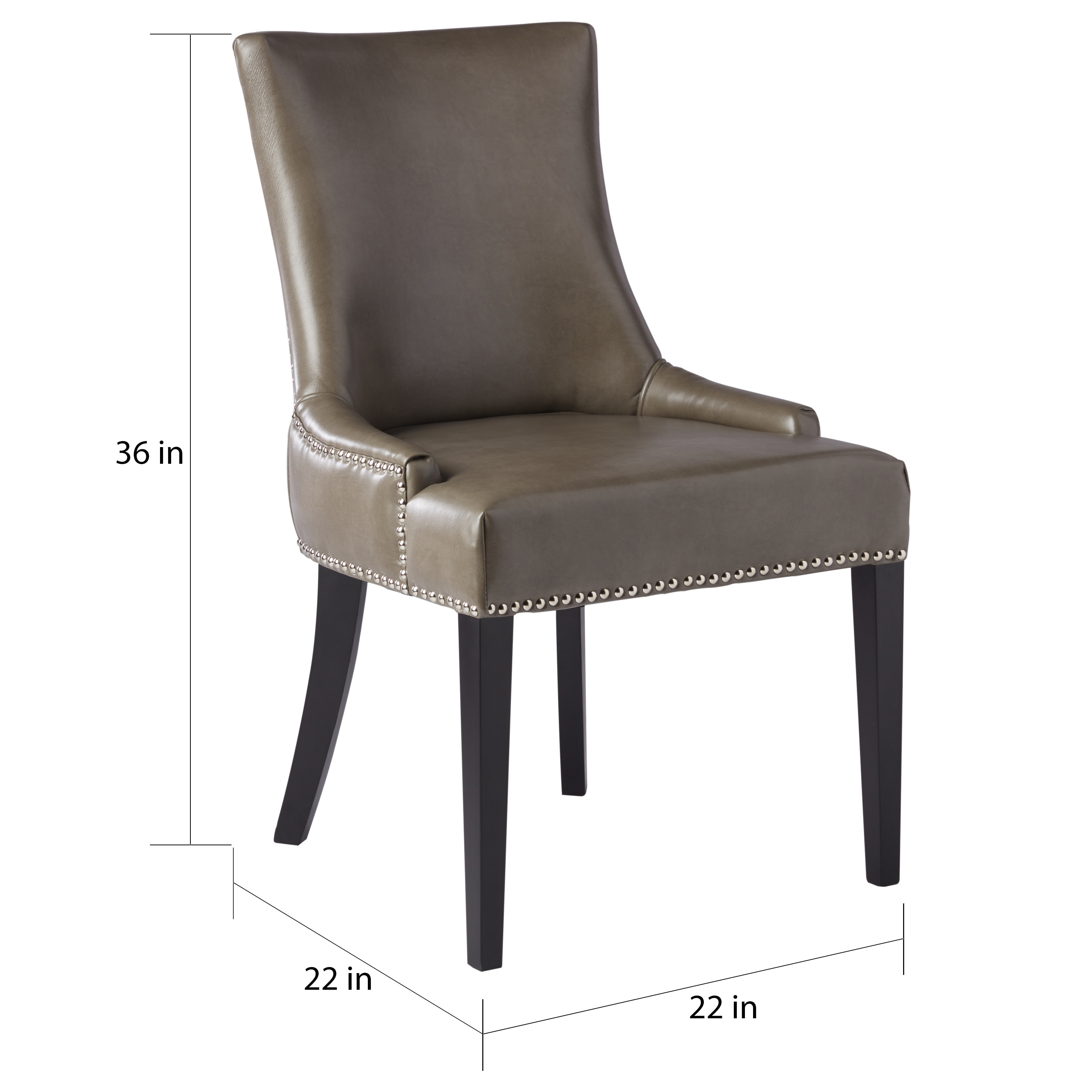 Shop Abbyson Newport Grey Leather Nailhead Trim Dining Chair   On Sale    Free Shipping Today   Overstock.com   9963906