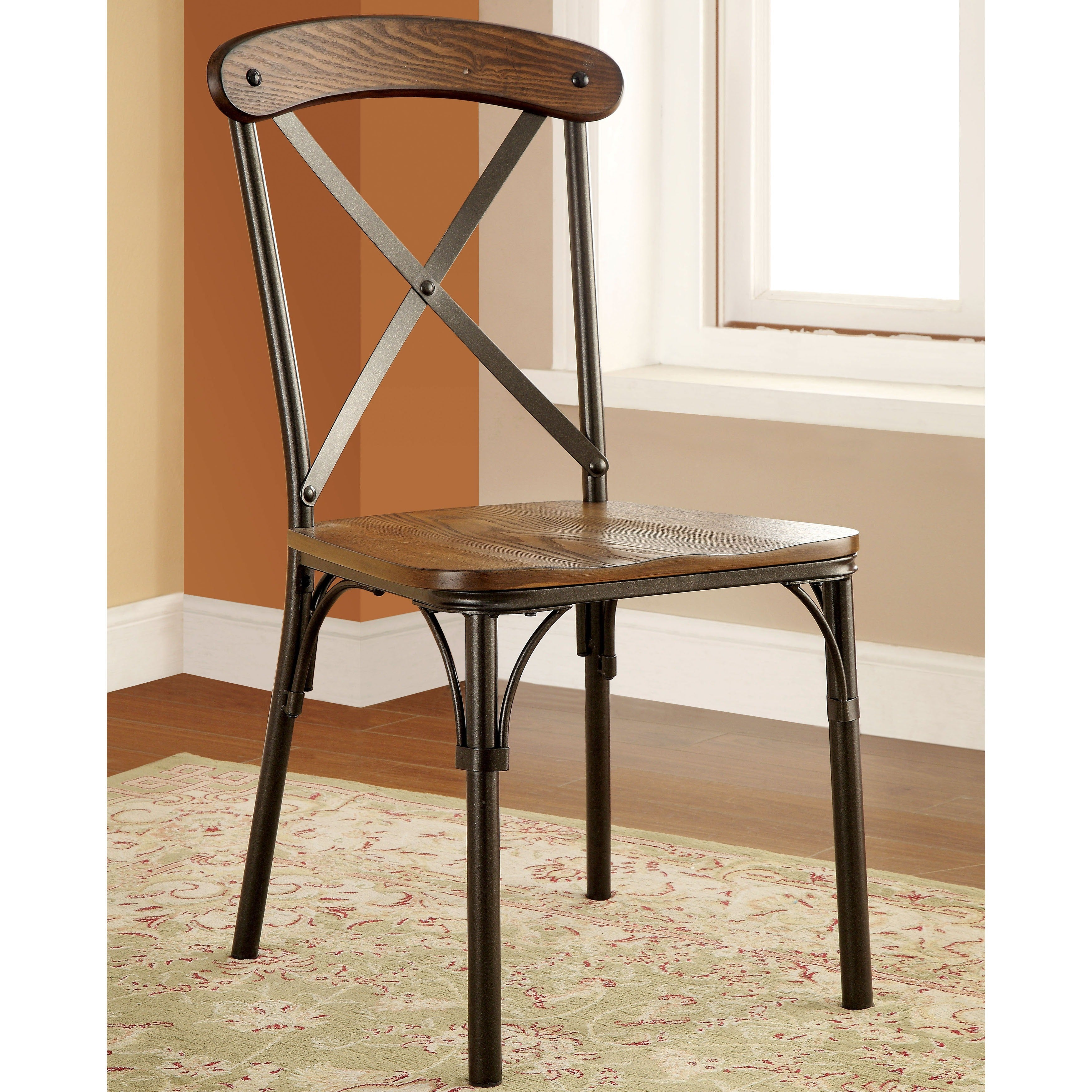 Shop furniture of america merrits industrial style dining chair set of 2 free shipping today overstock com 9964761