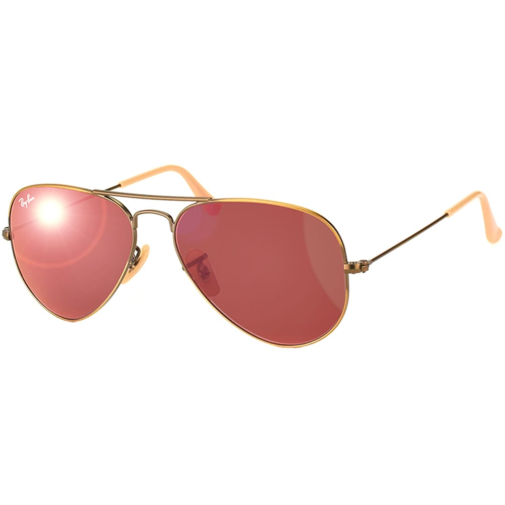 bf4d2f4cf4c Ray-Ban Aviator RB3025 Unisex Bronze Copper Frame Red Mirror Flash Lens  Sunglasses