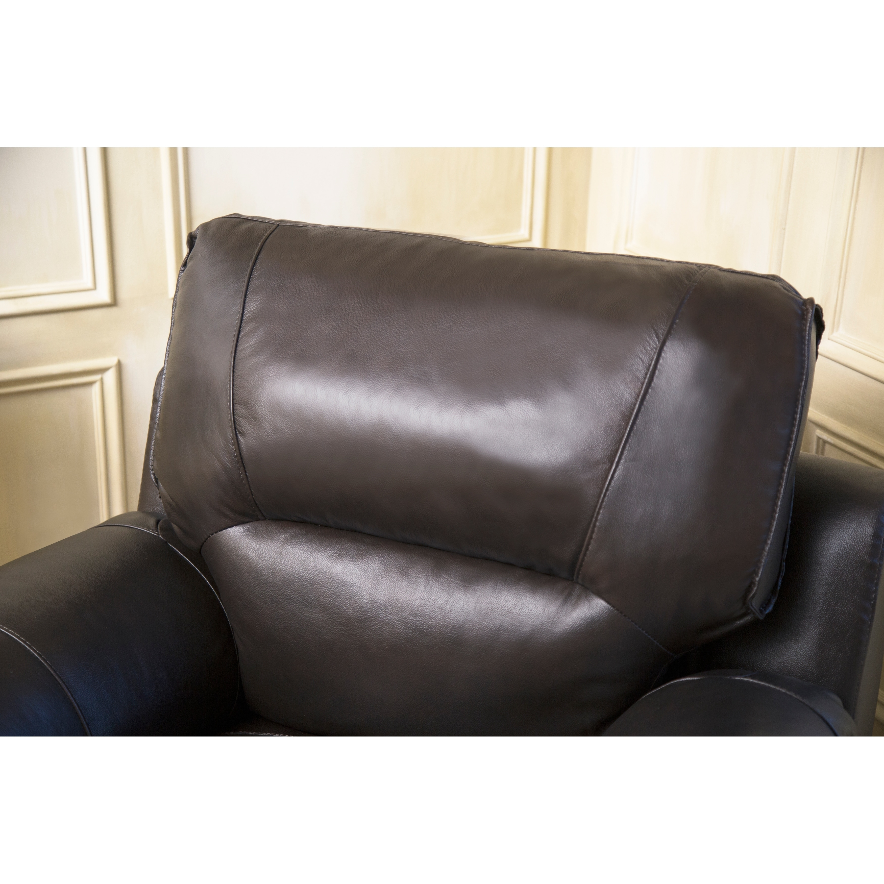 Shop Abbyson Caprice Top Grain Espresso Leather Armchair   Free Shipping  Today   Overstock.com   9966832
