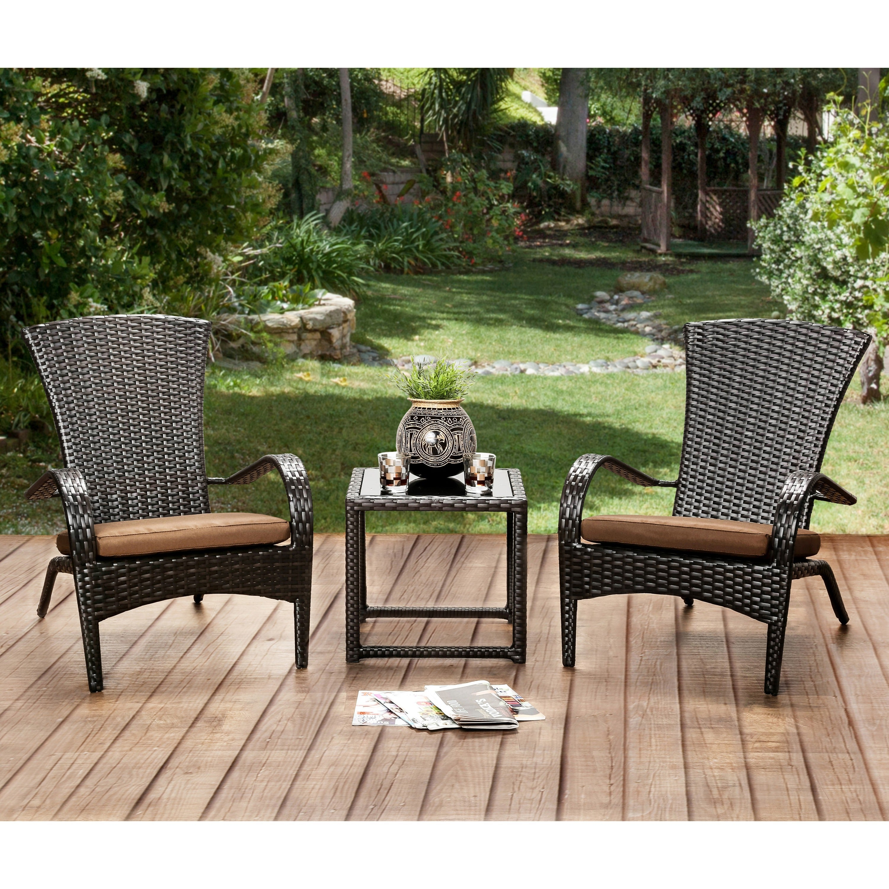 Furniture of america riley espresso wicker inspired patio chair set of 6