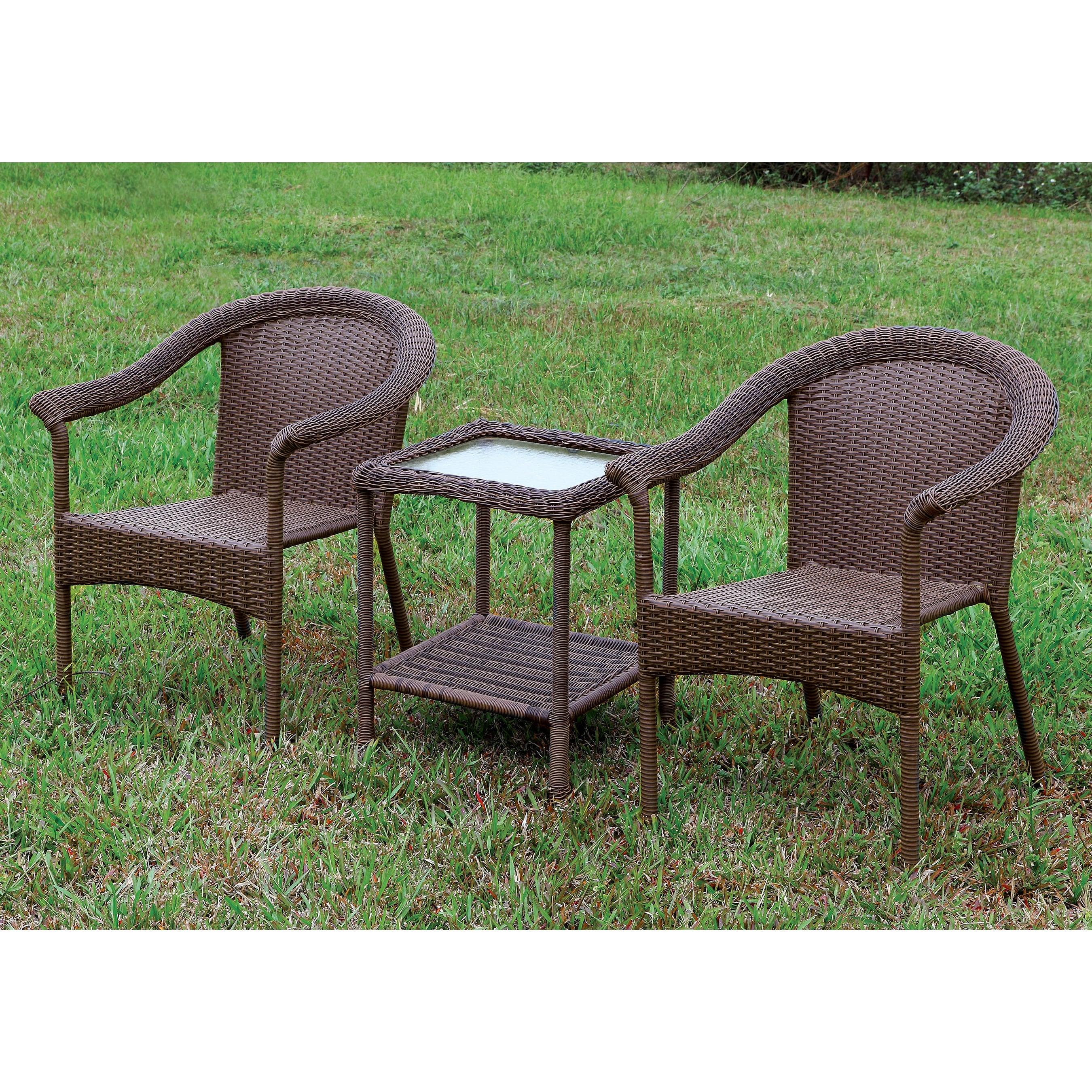 Shop furniture of america dahlee 3 piece espresso patio set free shipping today overstock com 9969719