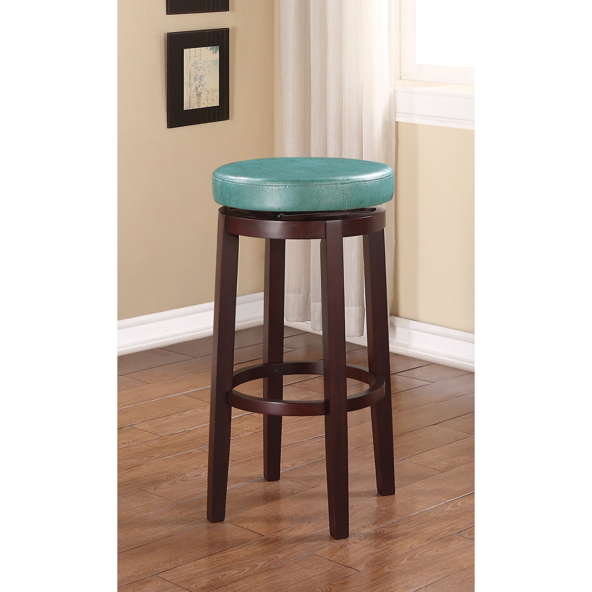 Linon Dorothy Aqua Blue Vinyl Backless Swivel Seat Bar Stool