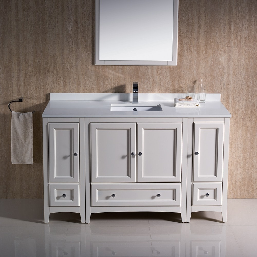 Shop Fresca Oxford 54-inch Antique White Traditional Bathroom Vanity with 2  Side Cabinets - Free Shipping Today - Overstock.com - 9972467 - Shop Fresca Oxford 54-inch Antique White Traditional Bathroom Vanity