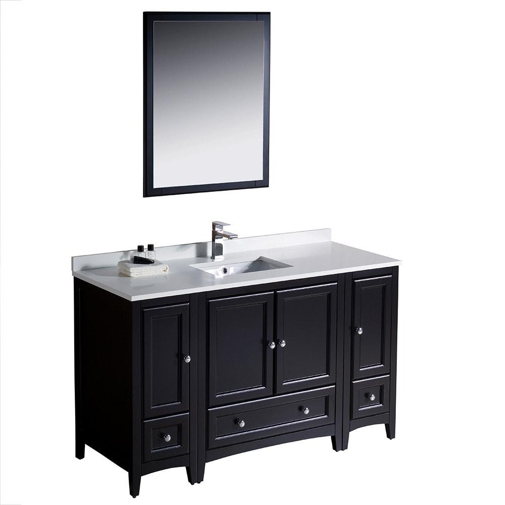 Shop Fresca Oxford 54-inch Espresso Traditional Bathroom Vanity with ...