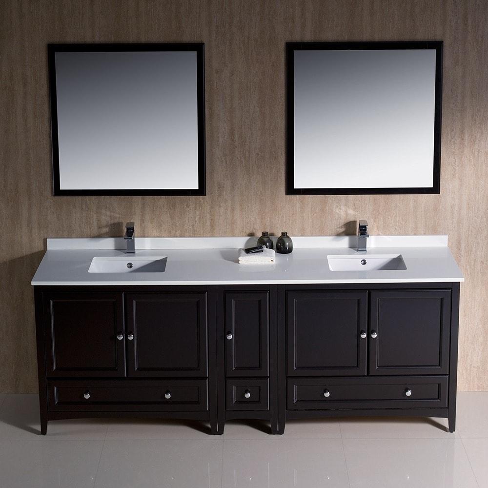 traditional double sink bathroom vanities. Shop Fresca Oxford 84-inch Espresso Traditional Double Sink Bathroom Vanity With Side Cabinet - Free Shipping Today Overstock.com 9972489 Vanities E