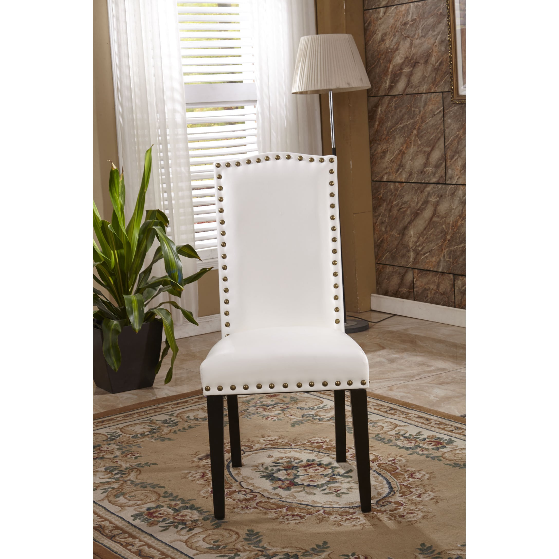 Shop Classic Faux Leather Parson Chairs With Nailhead Trim (Set Of 2)   On  Sale   Free Shipping Today   Overstock.com   9972850