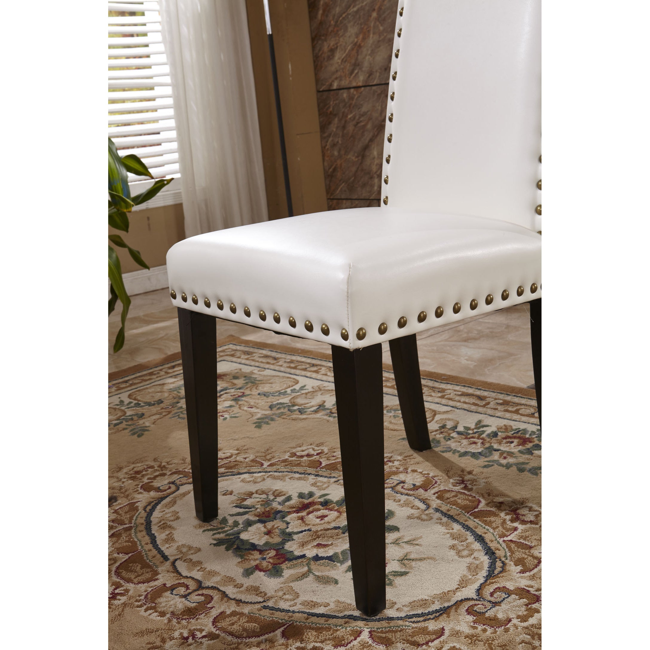 Clic Faux Leather Parson Chairs With Nailhead Trim Set Of 2 On Free Shipping Today 9972850