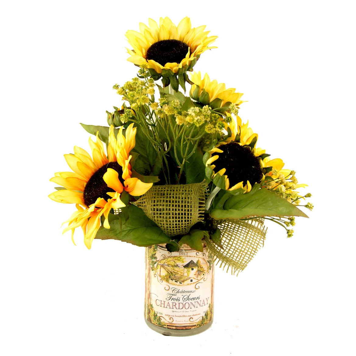 Sunflower Silk Bouquet With Chardonnay Decoupage Glass Free