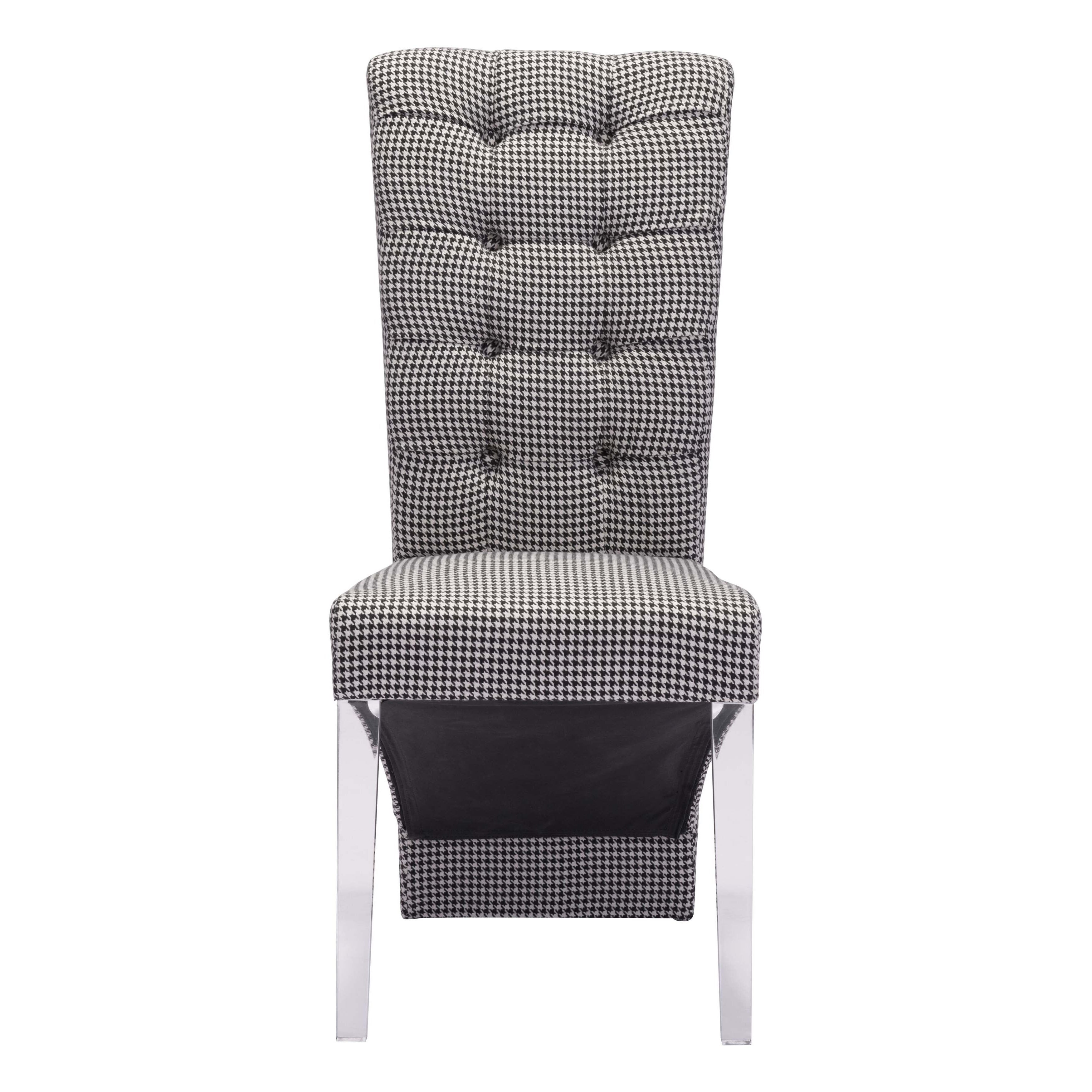 Waldorf Houndstooth Fabric And Acrylic Modern Dining Chair Set Of 2 Free Shipping Today 17125840