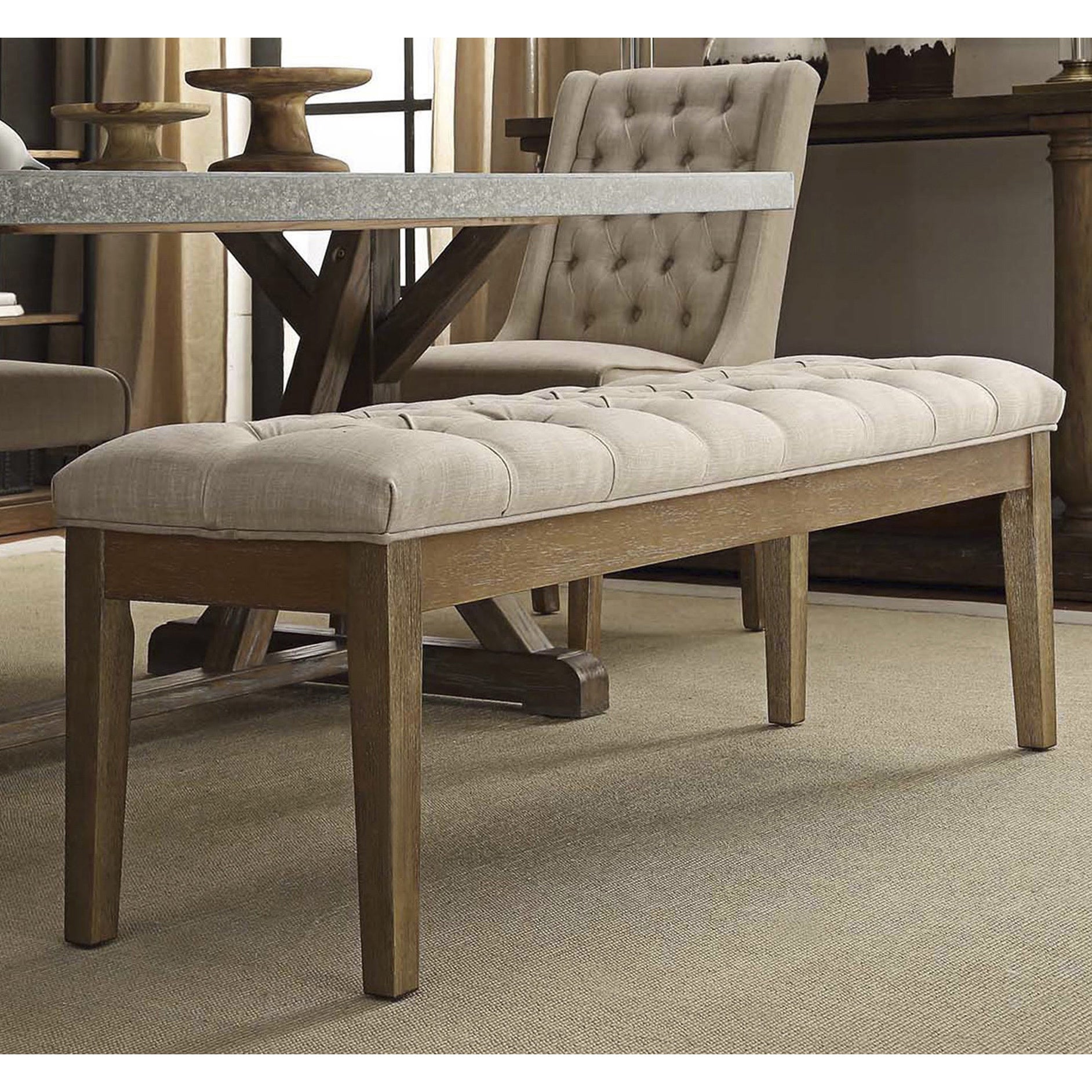 Shop Benchwright Premium Tufted Reclaimed 52-inch Upholstered Bench ...
