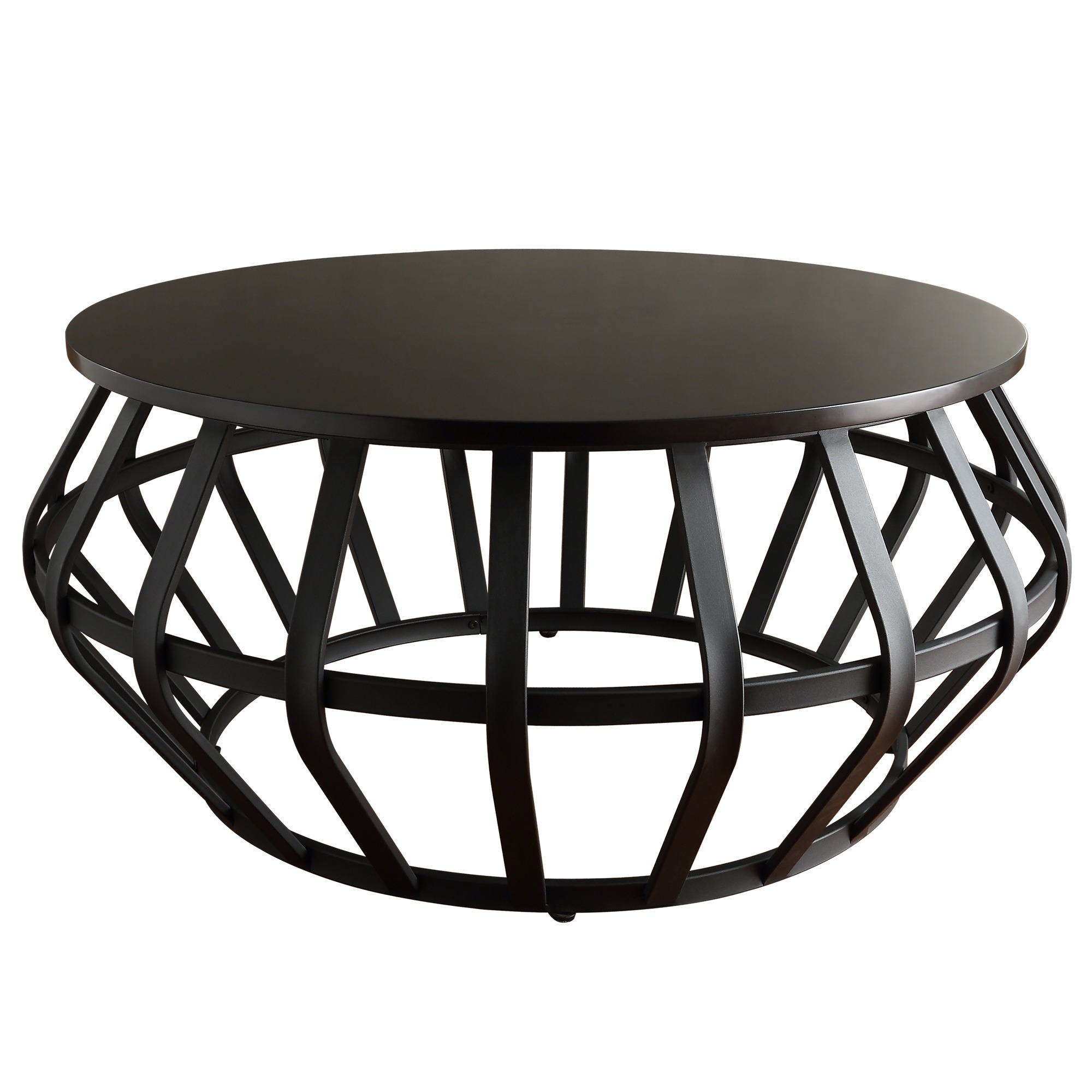 Shop Devon Metal Frame Round Cage Slate Accent Coffee Table By INSPIRE Q  Classic   On Sale   Free Shipping Today   Overstock.com   9973762