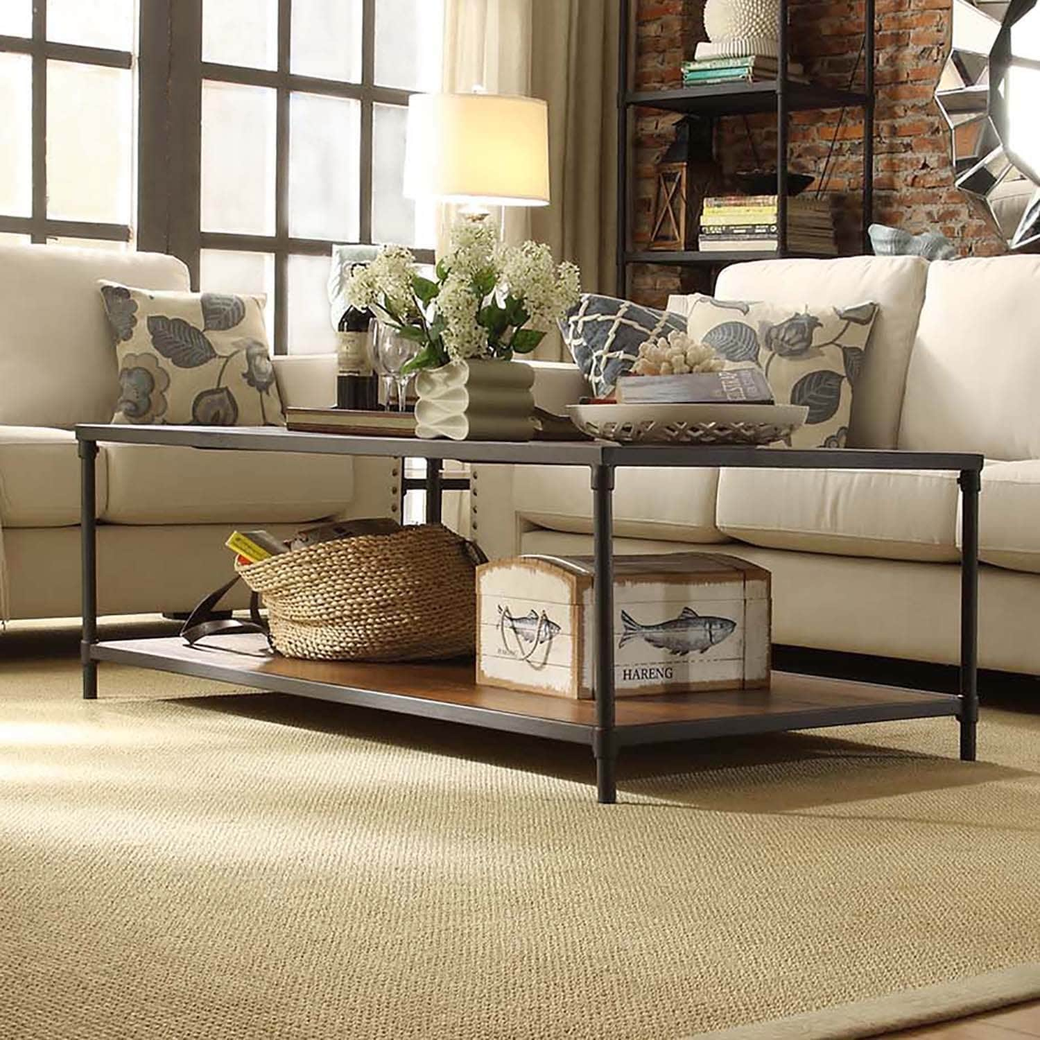Harrison Industrial Rustic Pipe Frame Accent Coffee Table by iNSPIRE Q  Classic - Free Shipping Today - Overstock.com - 17126200