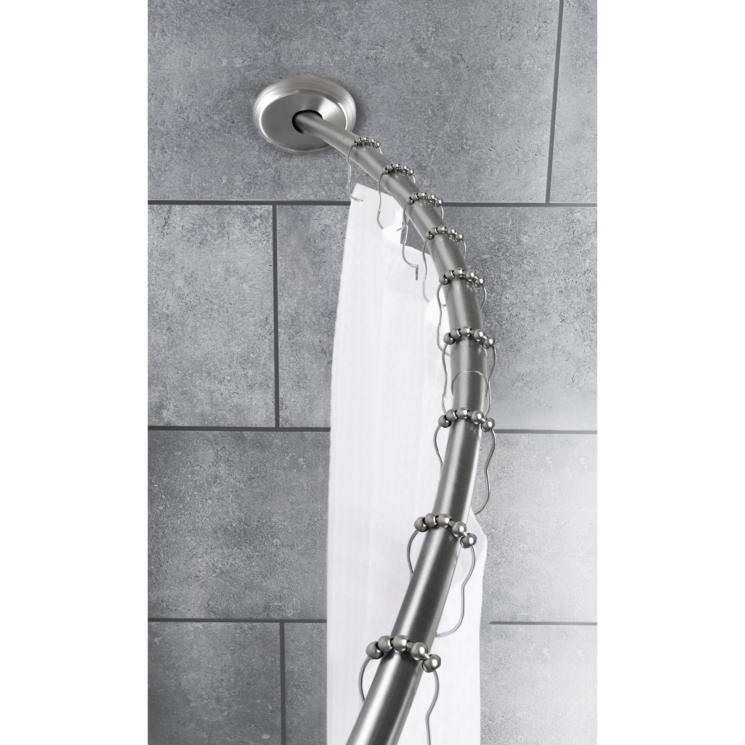 Picture of: Shop Black Friday Deals On Maytex Smart Rod Dual Mount Curved Shower Curtain Rod Brushed Nickel Overstock 9977172