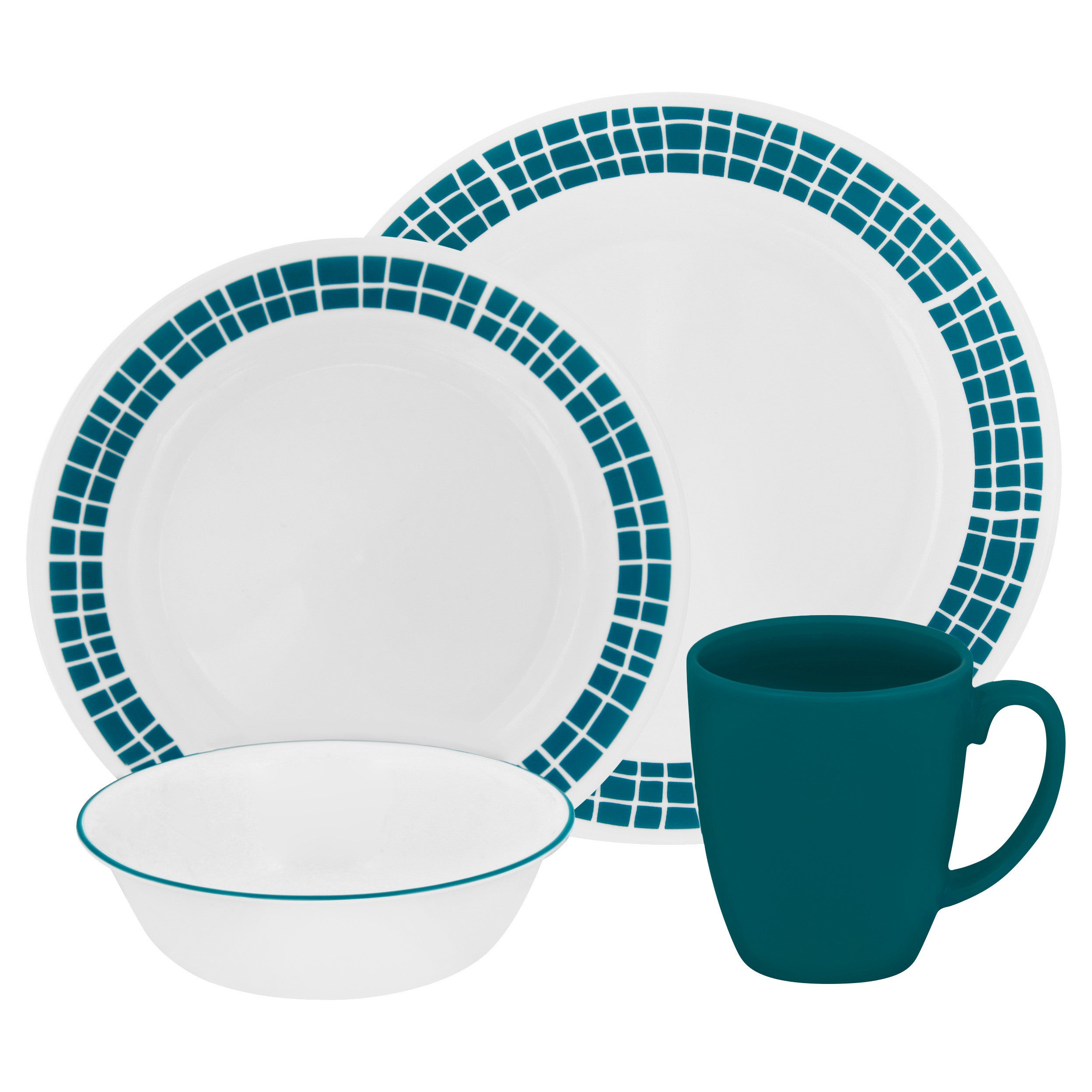 Corelle Livingware Aqua Tiles 16-piece Dinnerware Set - Free ...