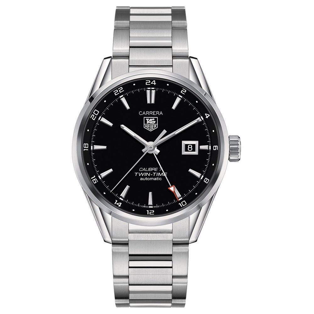 fcf3e3f3c197 Shop Tag Heuer Men s  Carrera Calibre 7 Twin Time  Stainless Steel Watch -  Free Shipping Today - Overstock - 9977454