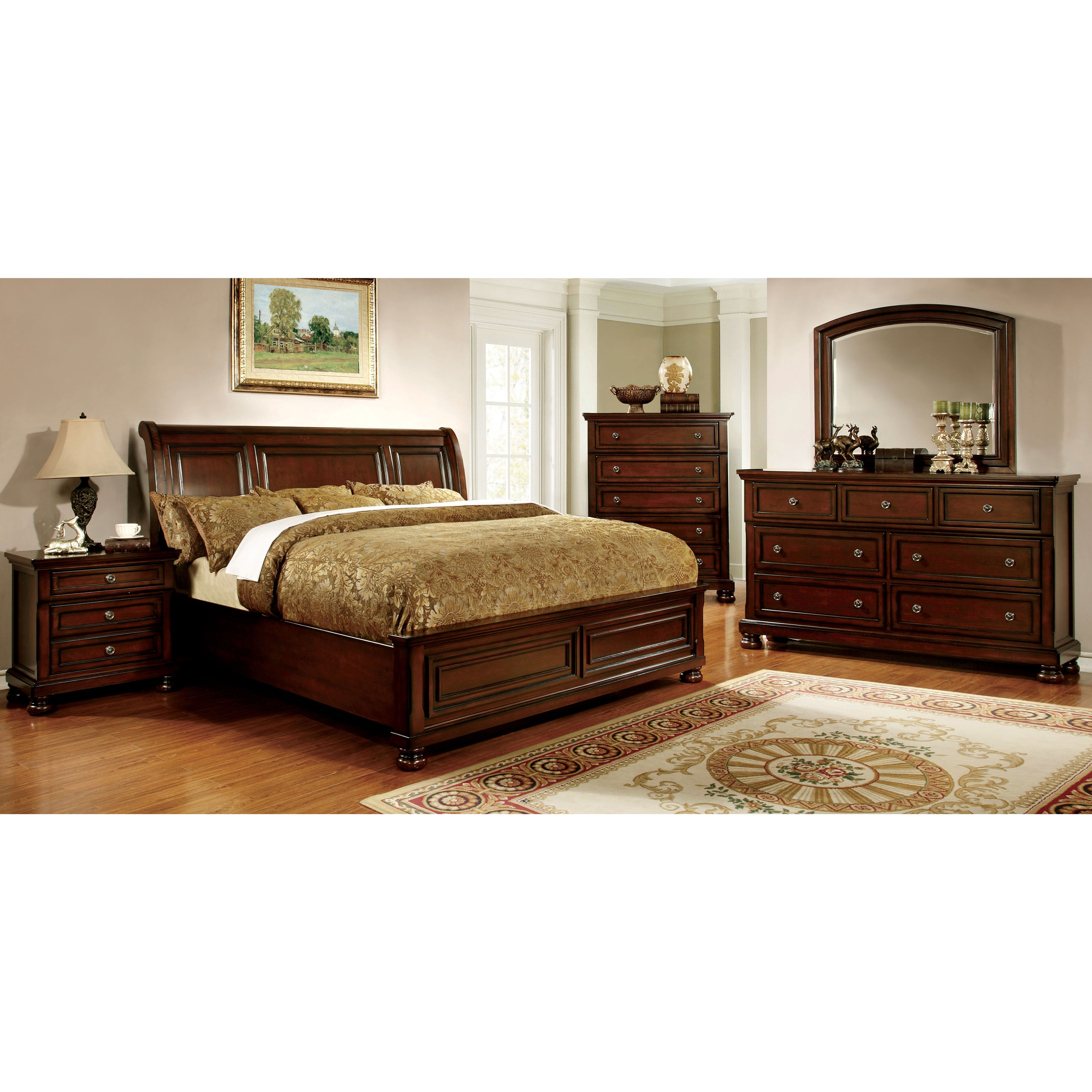 Furniture of America Barelle II Cherry 4 piece Bedroom Set Free