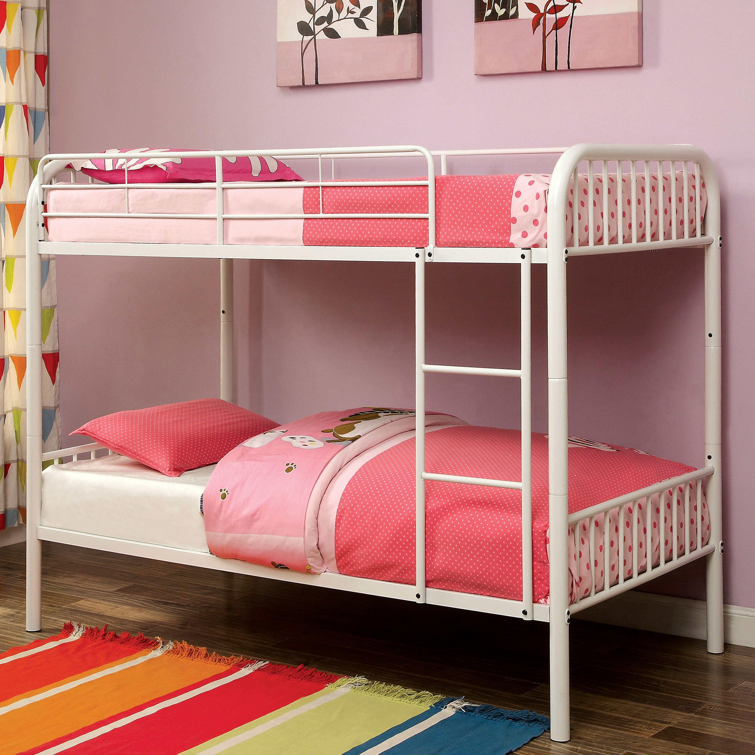 Shop Furniture Of America Linden Ii Twin Over Twin Metal Bunk Bed