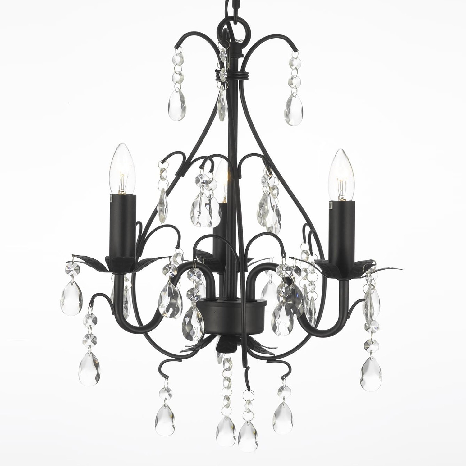 Gallery Wrought Iron and Crystal 3 light Swag Plug in Chandelier