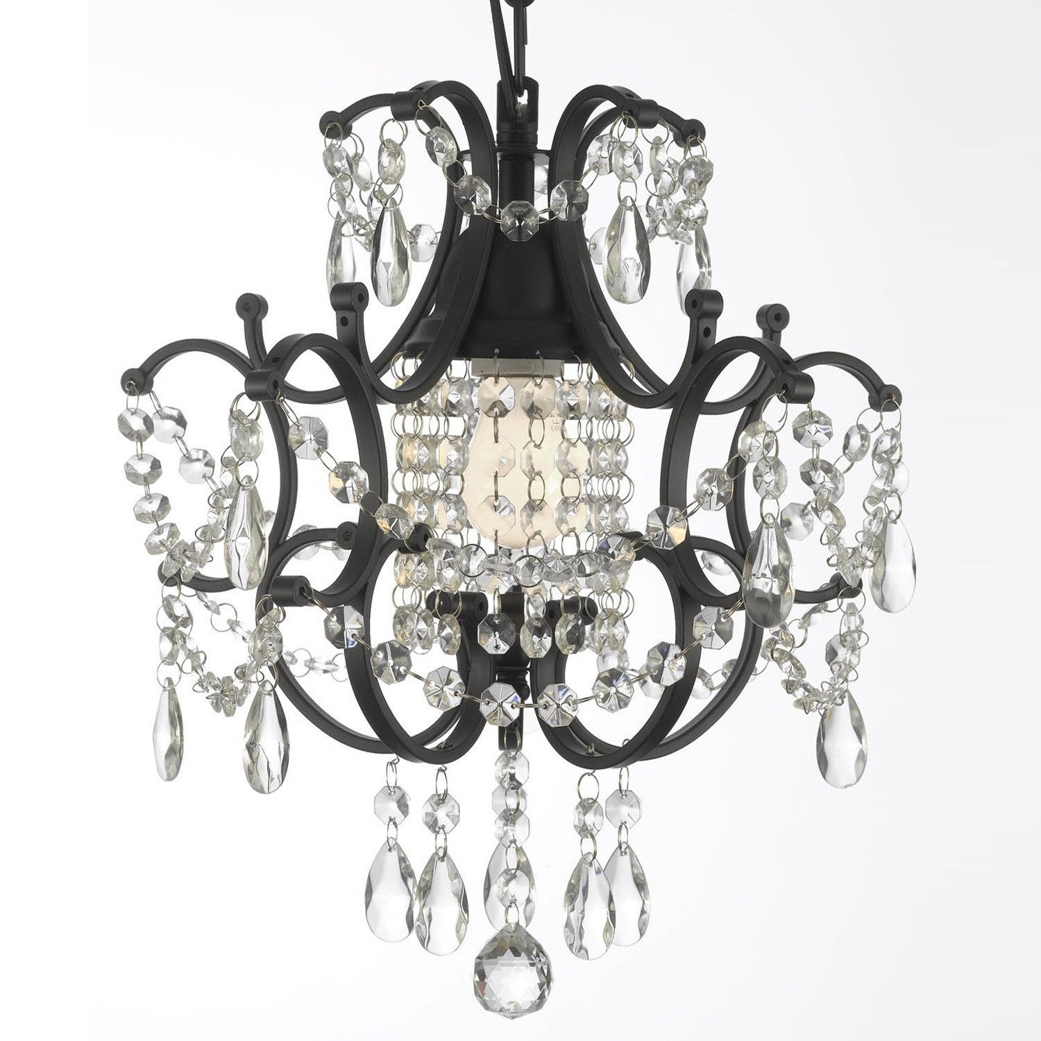 Gallery Versailles Wrought Iron and Crystal Swag Plug In Mini