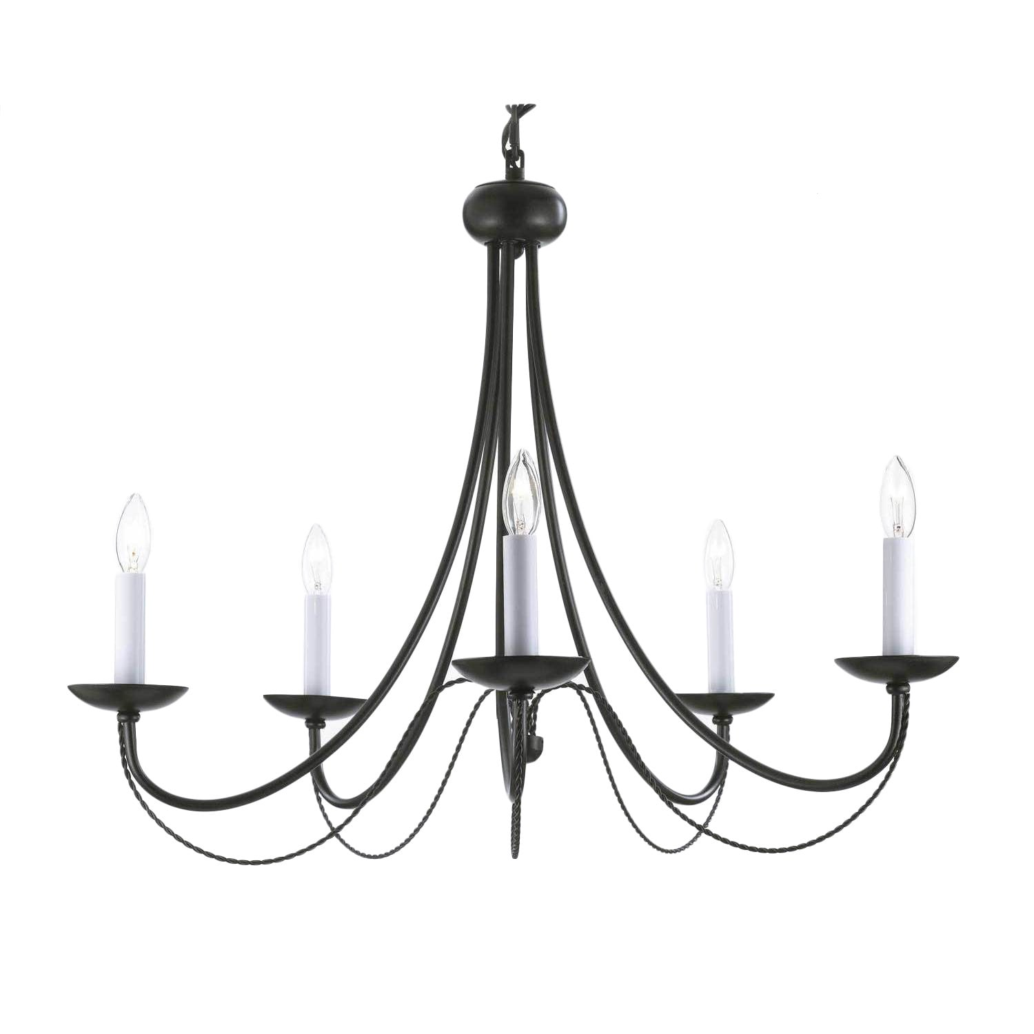 Versailles Swag Plug in Wrought Iron 5 light Chandelier Free