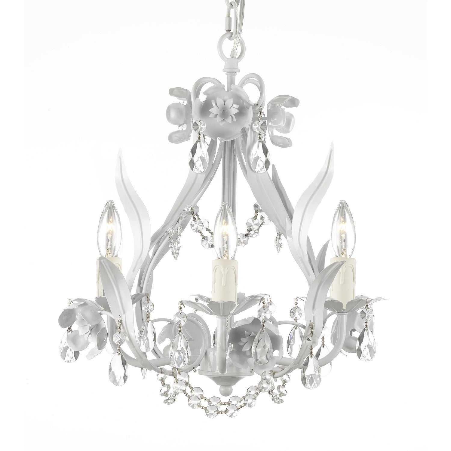 Gallery Floral Wrought Iron and Crystal White Swag Plug in 4 light