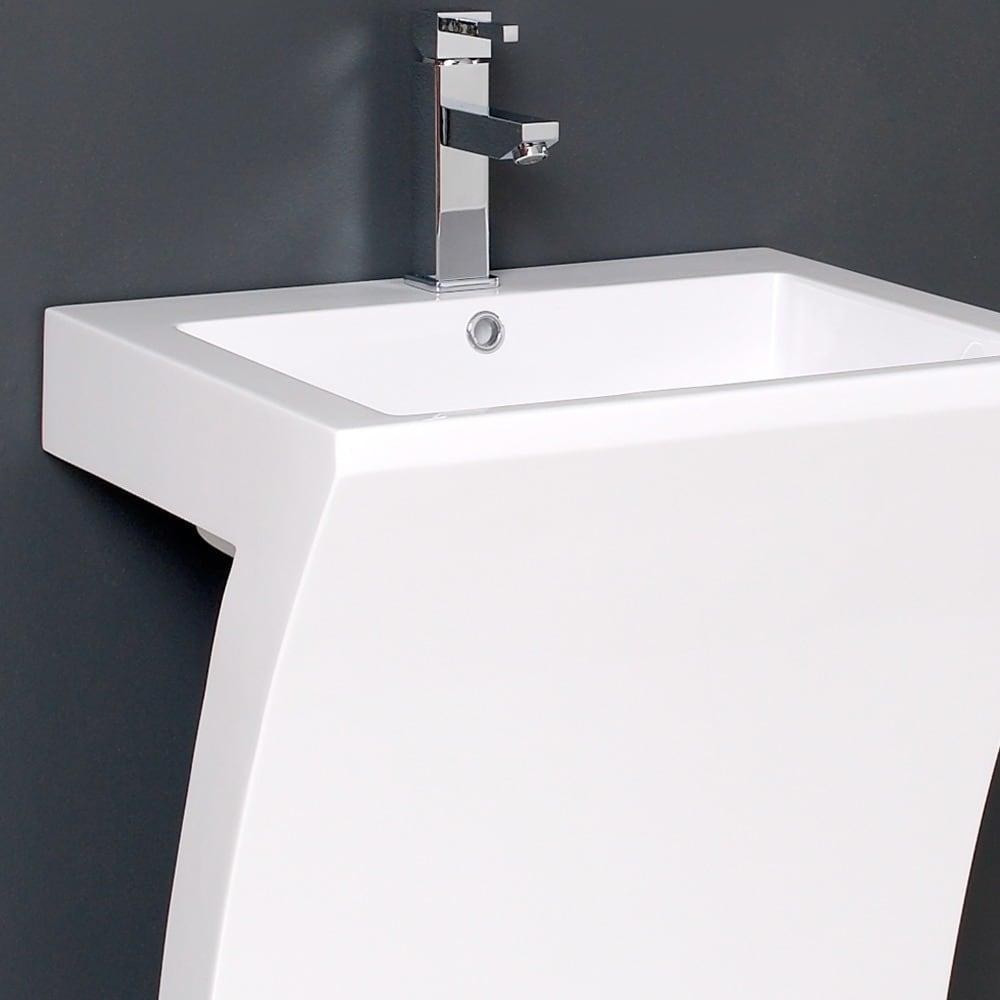 Shop Fresca Quadro White Pedestal Sink w/ Medicine Cabinet - Modern ...