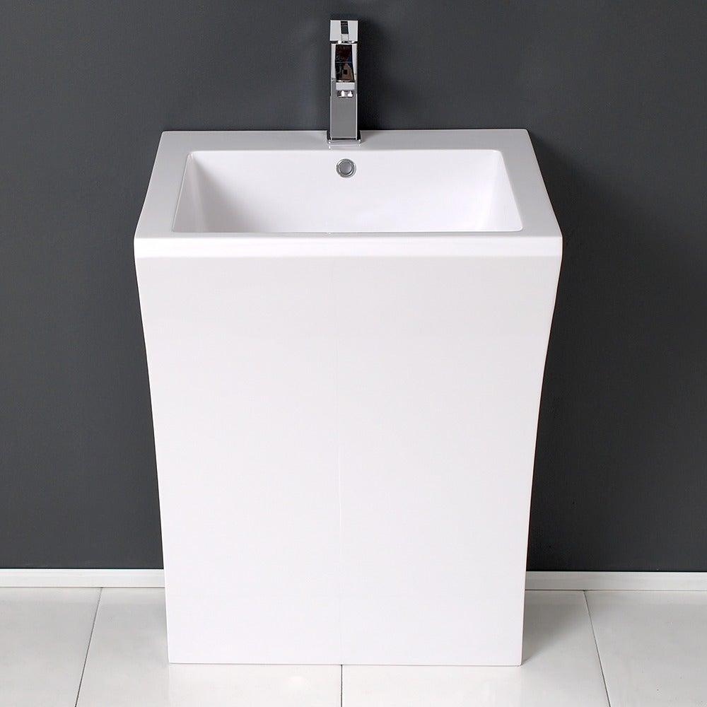 Shop Fresca Quadro White Pedestal Sink W Medicine Cabinet Modern